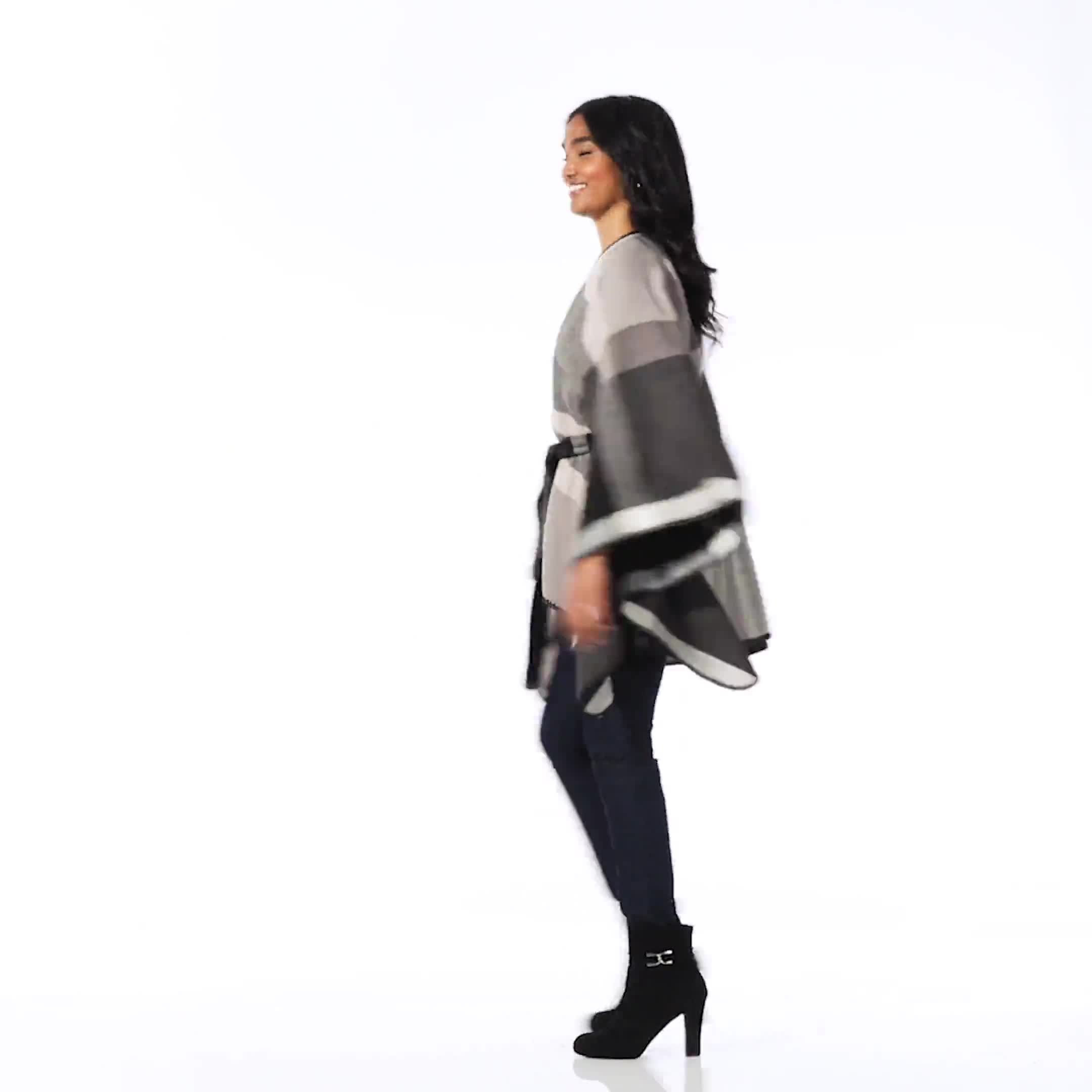 Plaid Belted Poncho - Video
