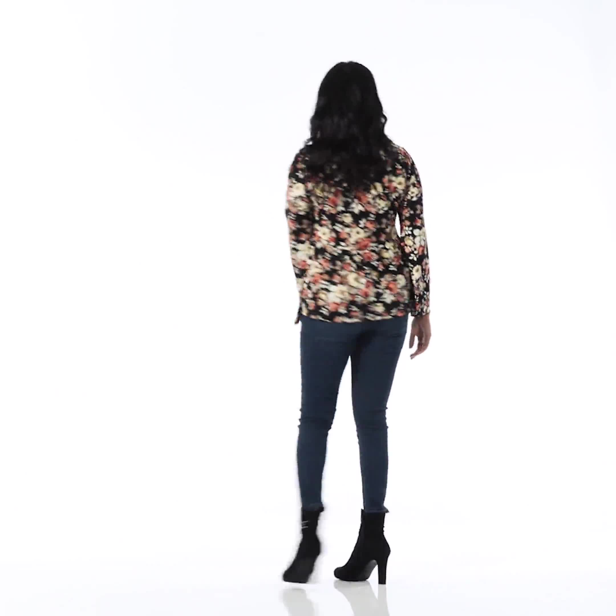 Floral Flare Sleeve Hacci Sweater Knit Top  - Misses - Video