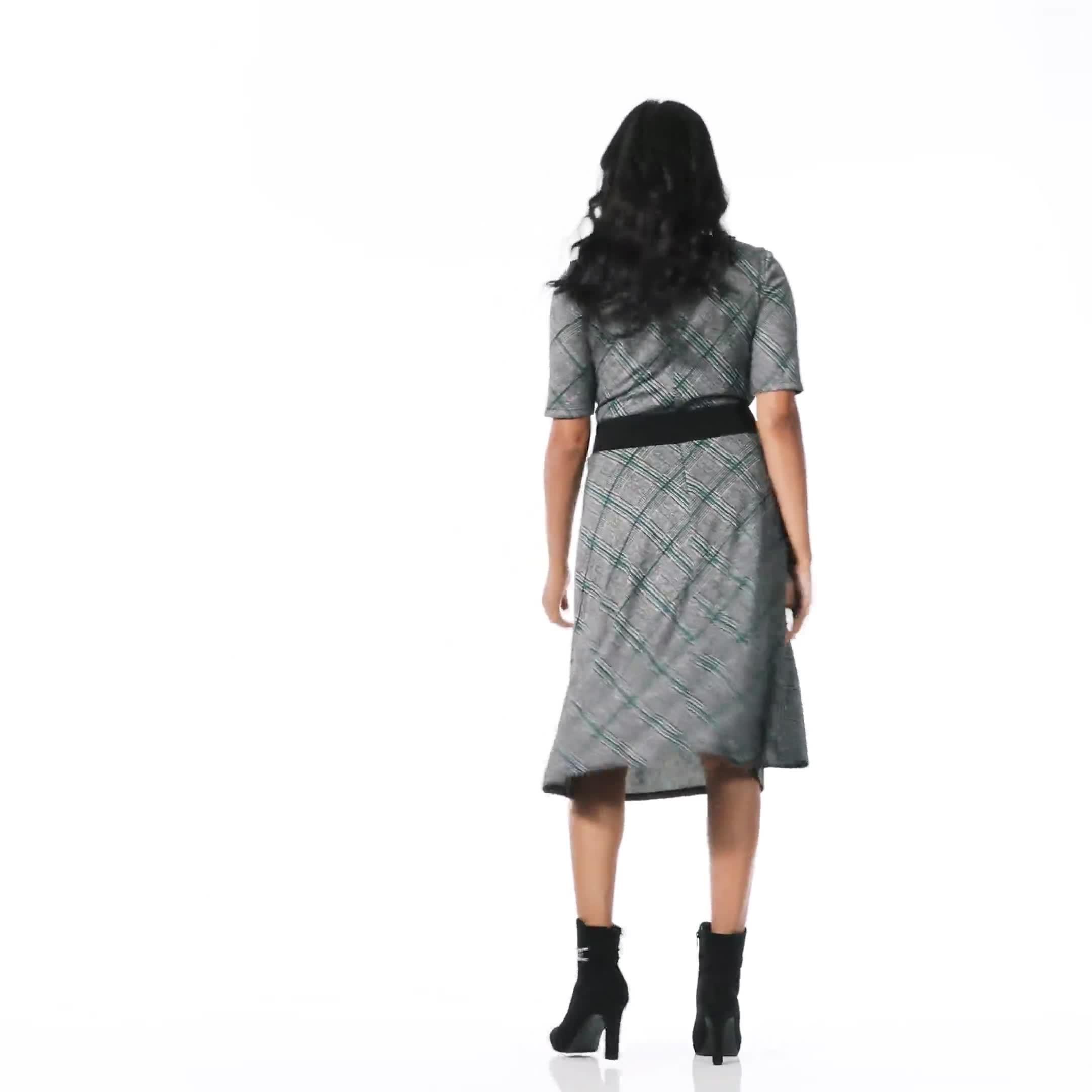 Plaid Belted Midi Knit Dress - Video