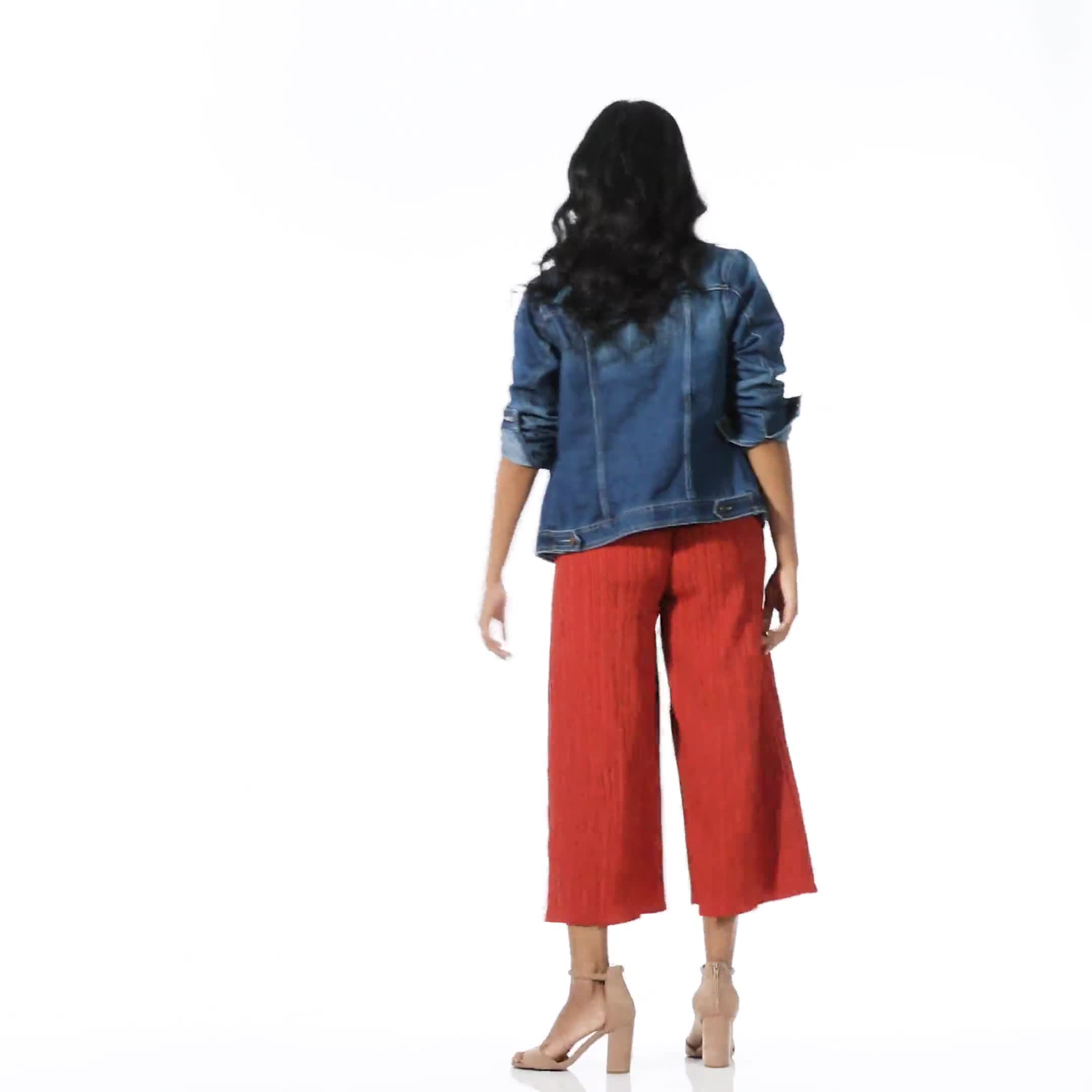 Cropped Palazzo Pant with Elastic Waistband - Misses - Video