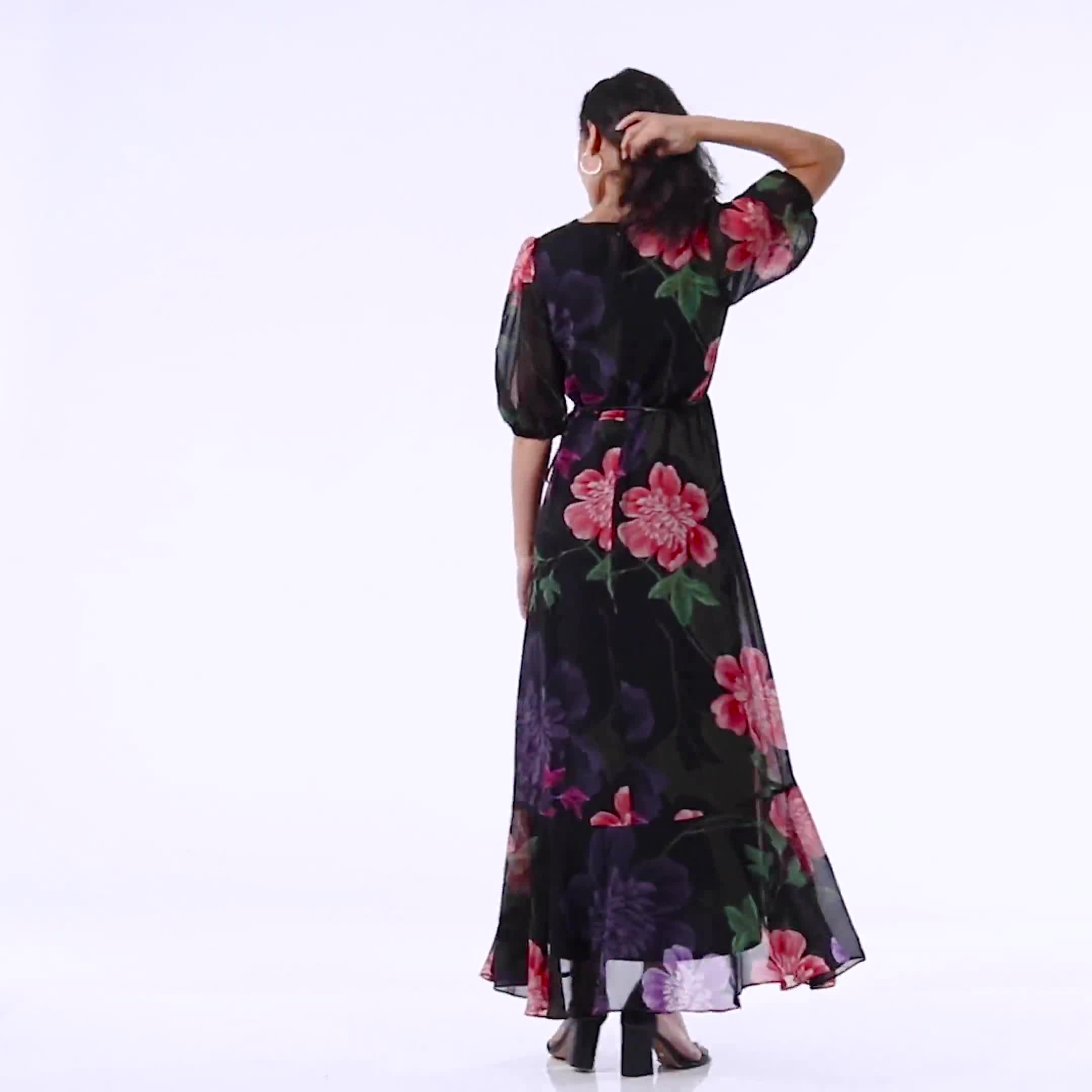 Large Floral Ruffle Dress - Video