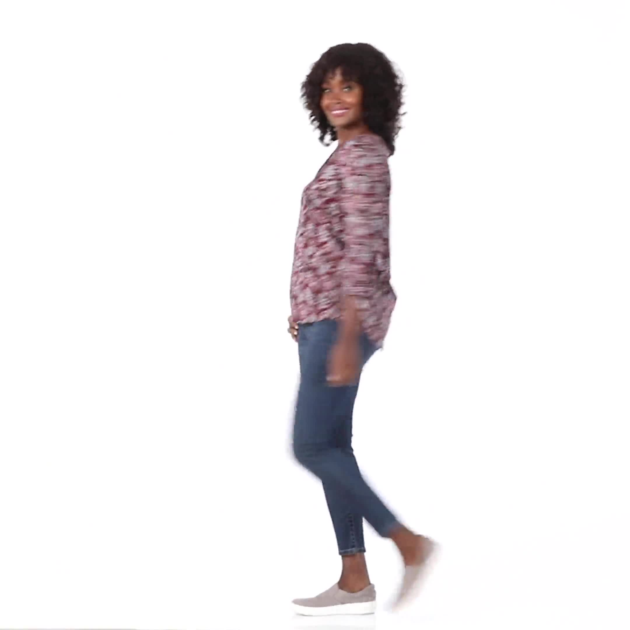Burgundy Plaid Pintuck Knit Popover - Plus - Video