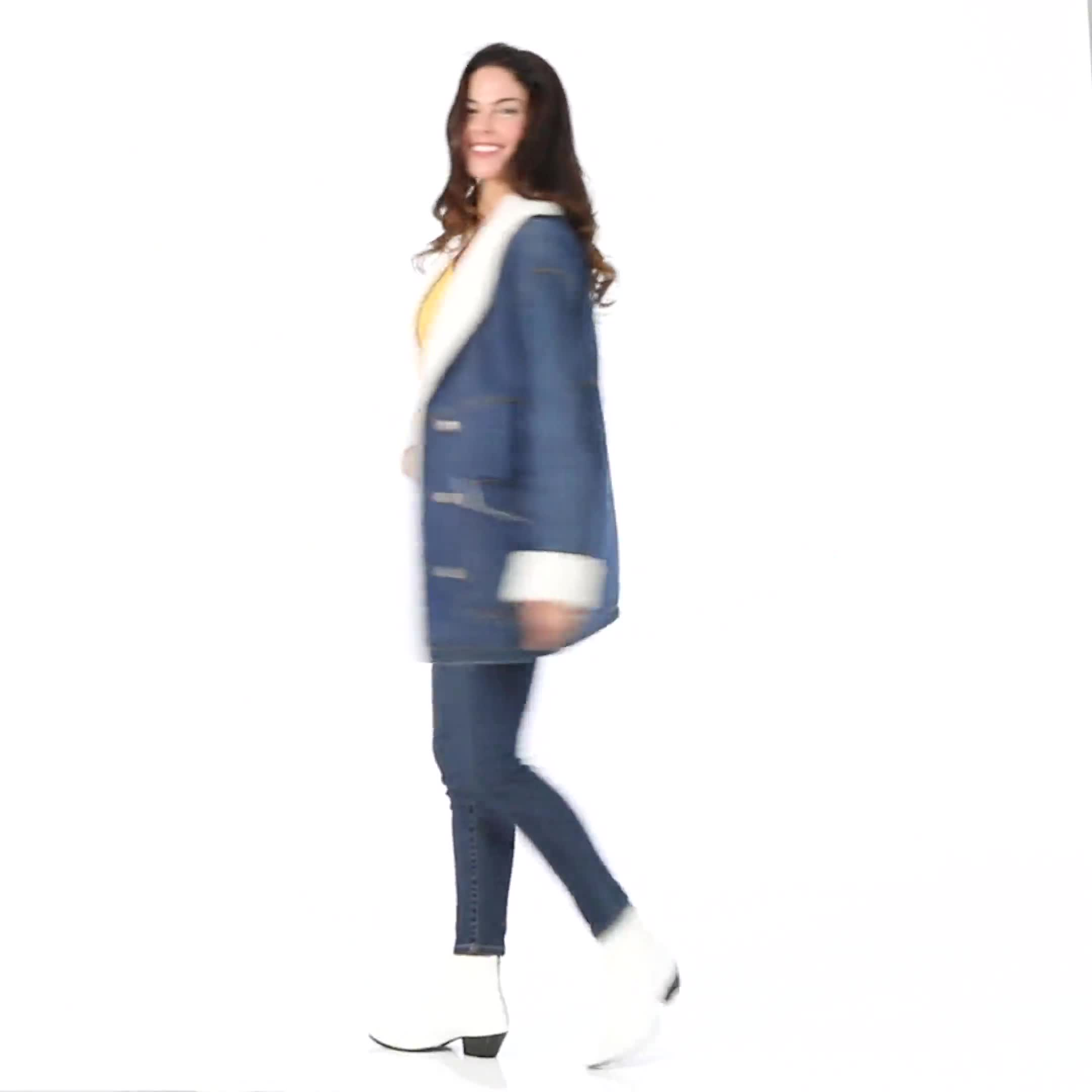 Oversized Denim Jacket with Sherpa Lining - Video