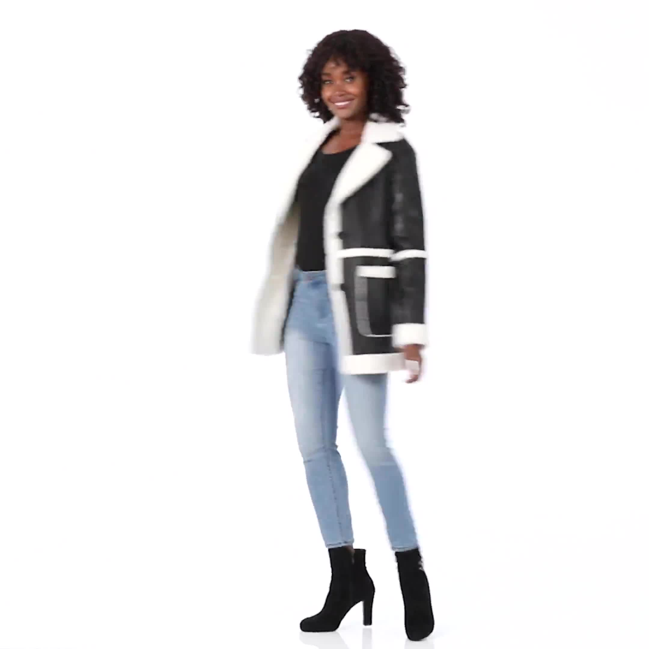 Sherpa Bonded Faux Leather Coat - Video