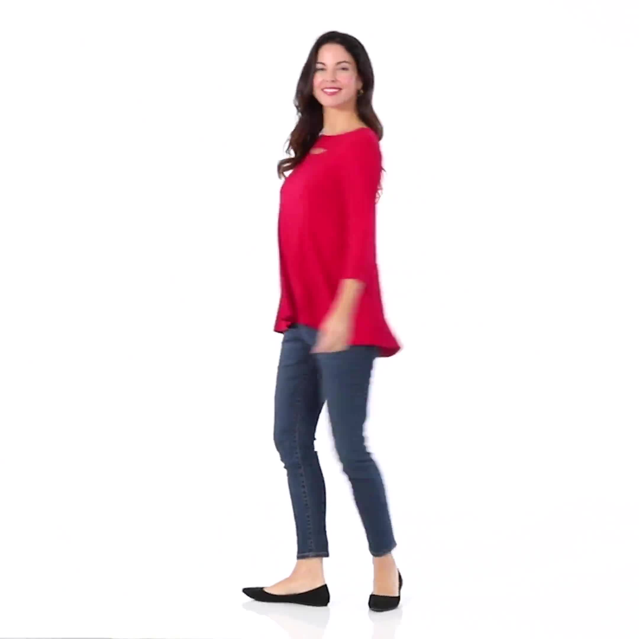 Roz & Ali Keyhole Fit & Flare Knit Top - Video