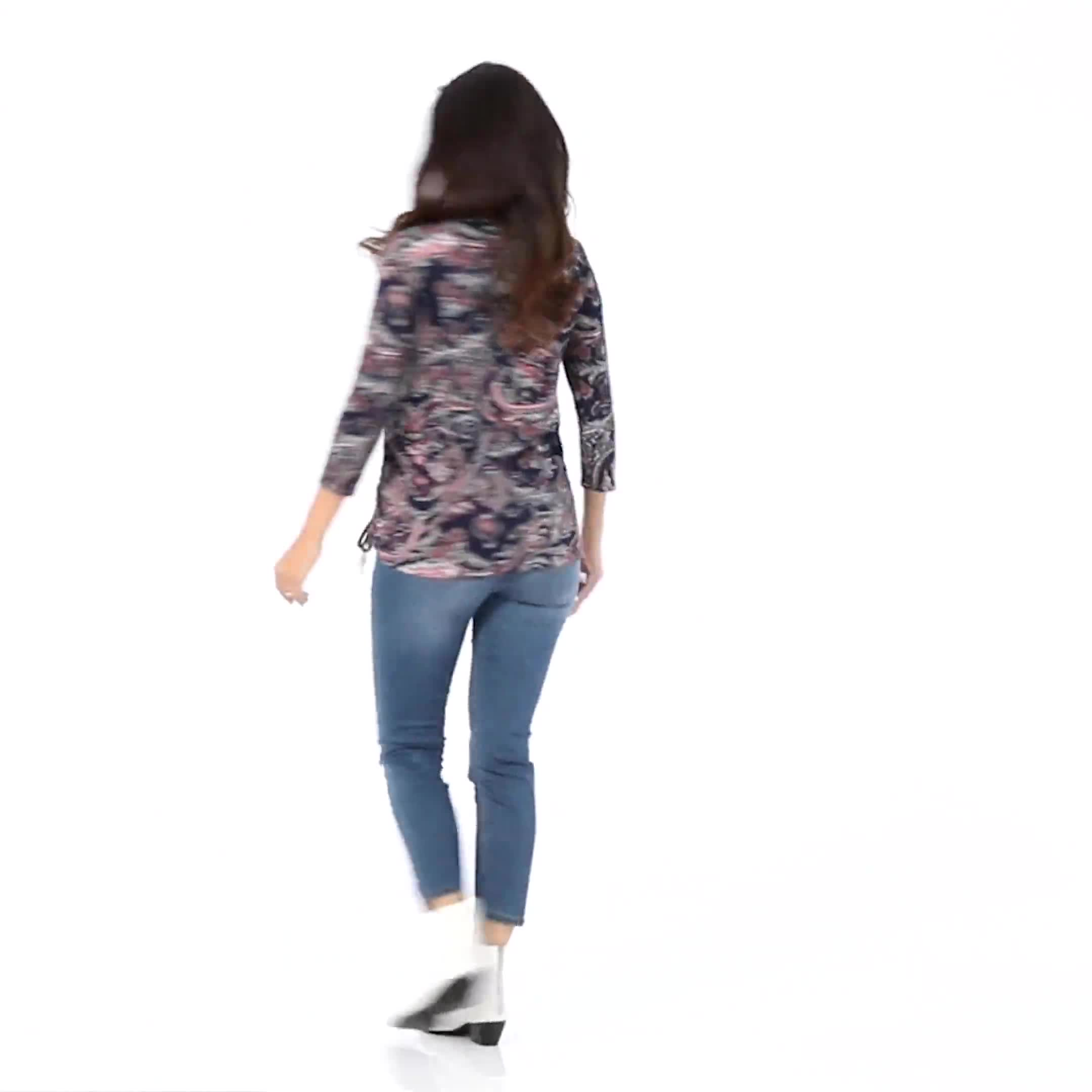 Dressbarn Paisley Hacci Cinched Knit Top - Misses - Video