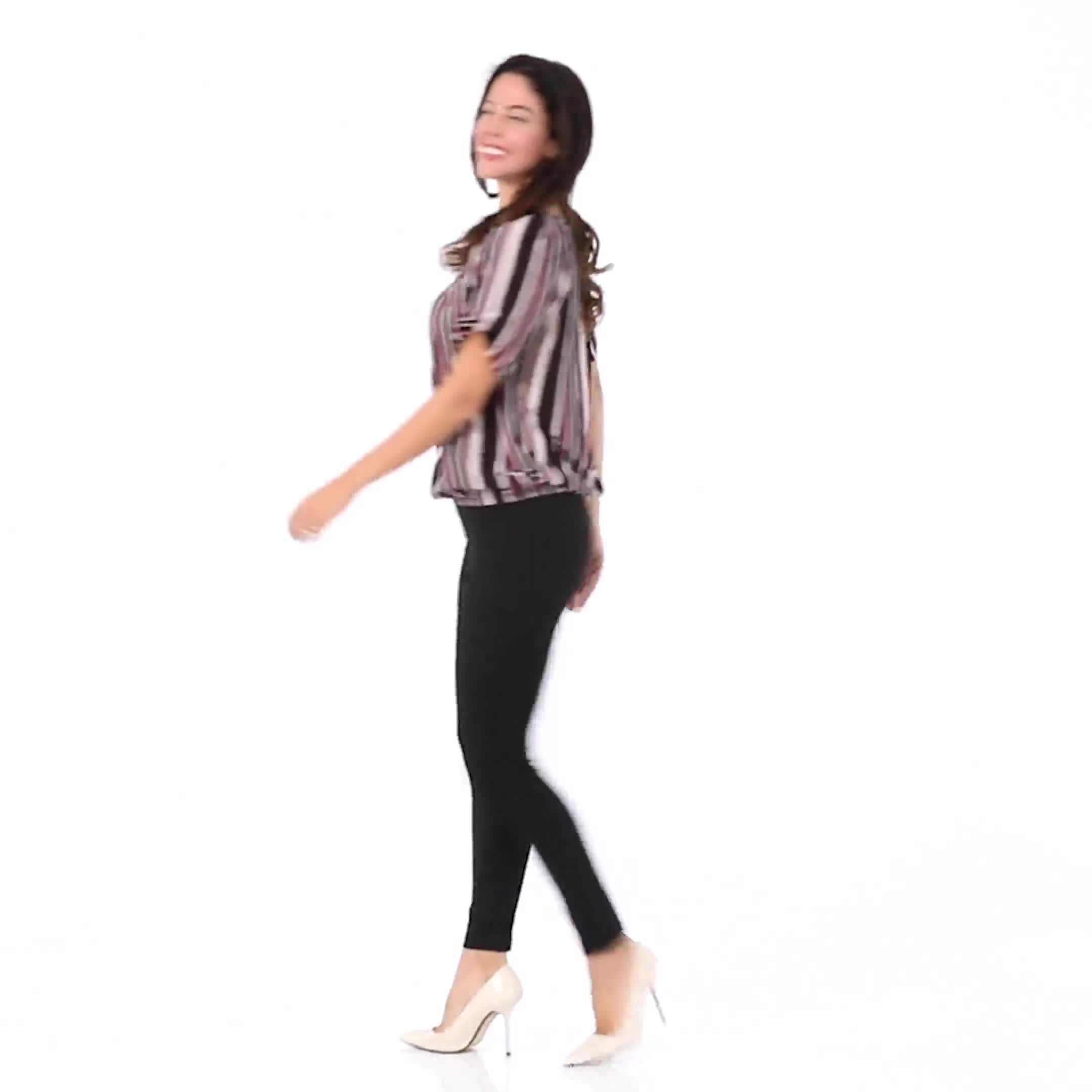 Roz & Ali Striped Bubble Hem Blouse - Video