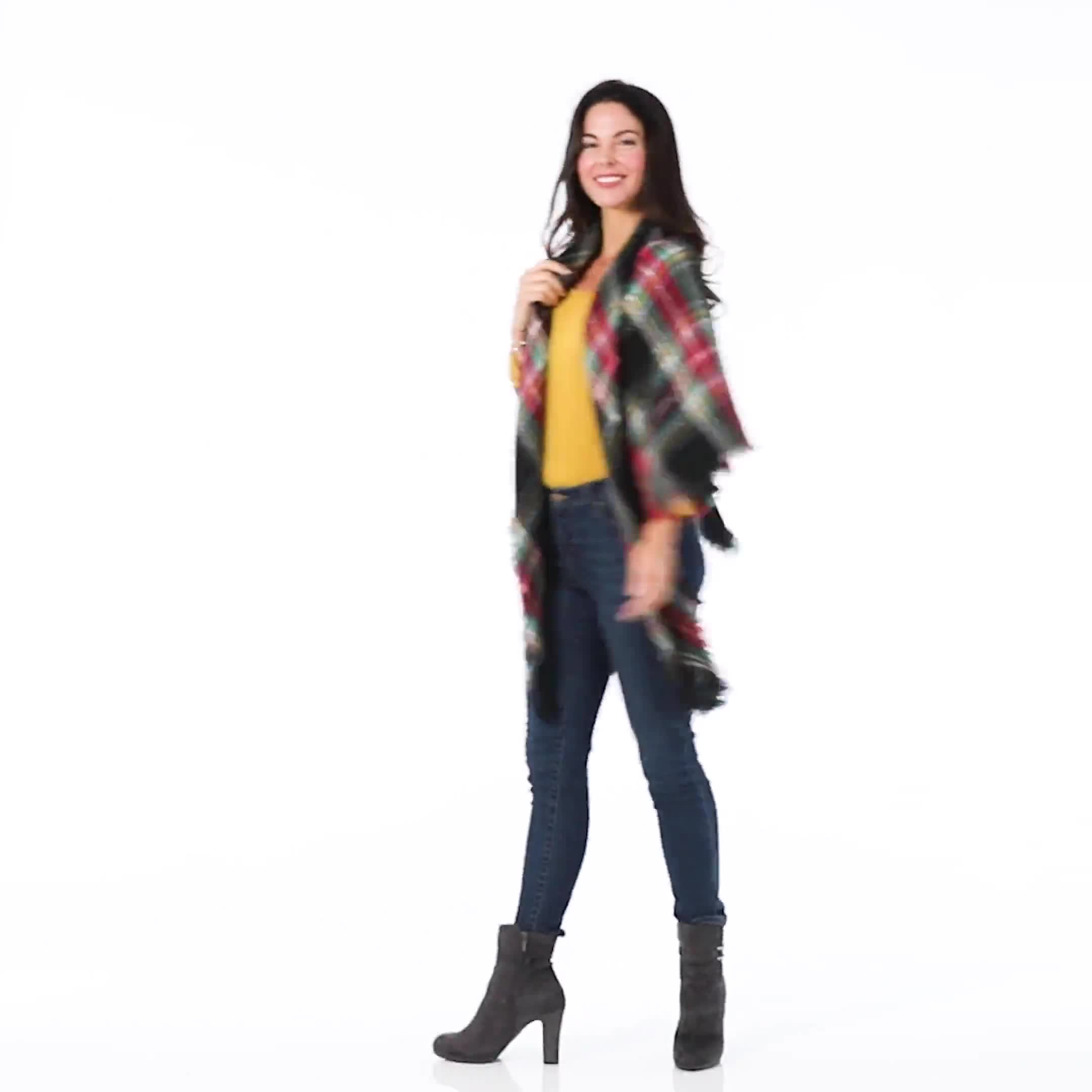 "Cozy Plaid Blanket Scarf ""Can Be Worn Six Ways"" - Video"