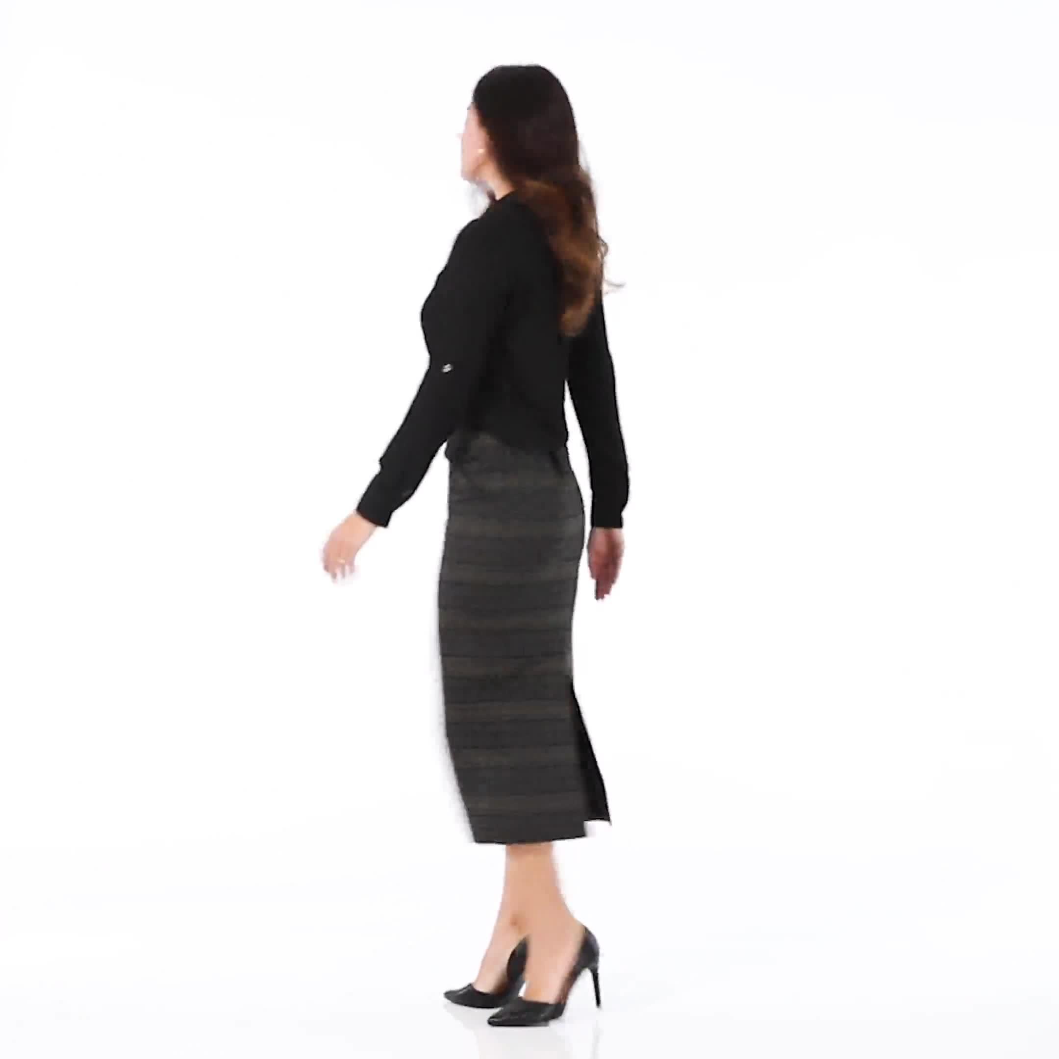 Printed ponte long slim skirt with back slit - Misses - Video