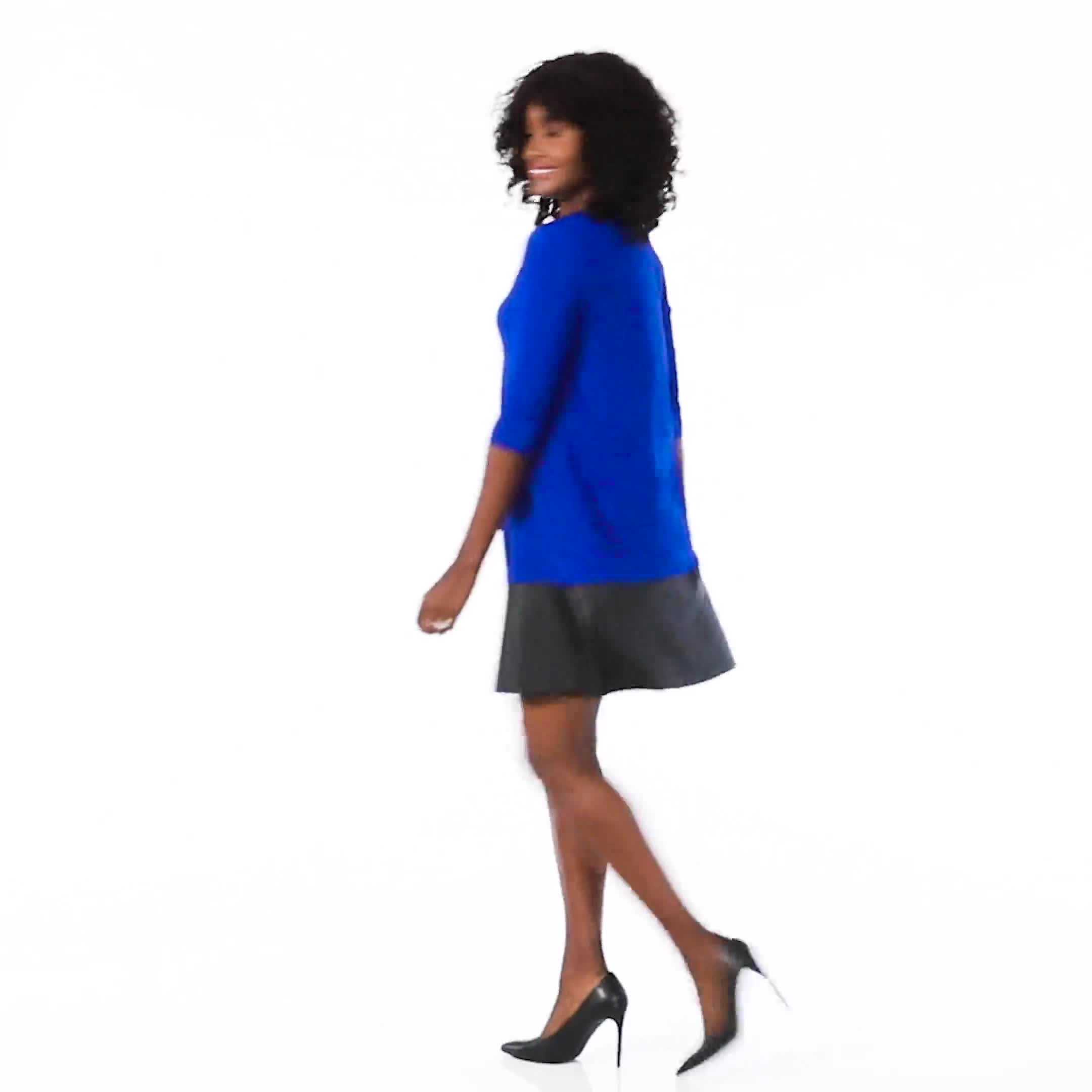 Knit Dress With Faux Leather Trim - Misses - Video