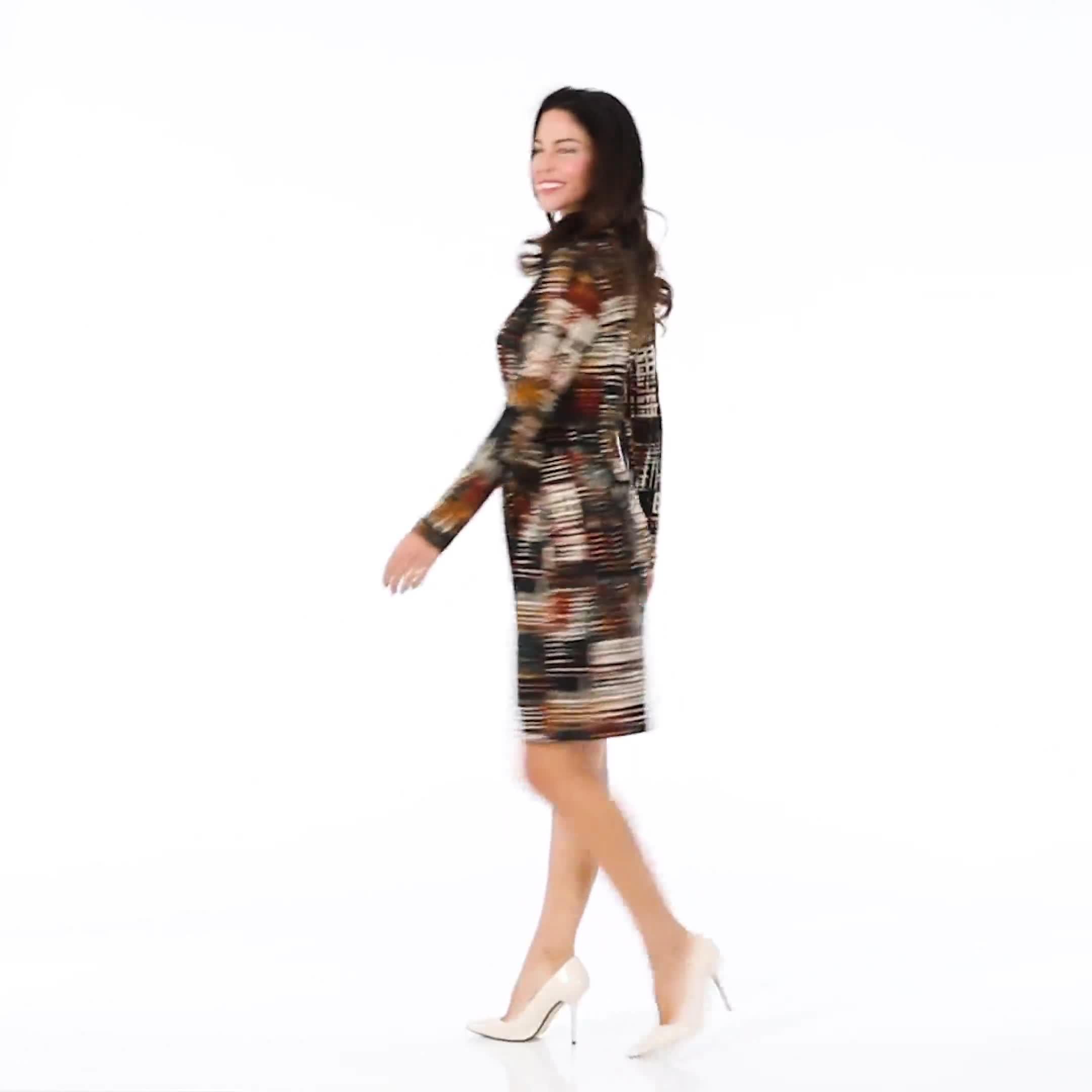 Wrap Brush Stroke Midi Dress - Video