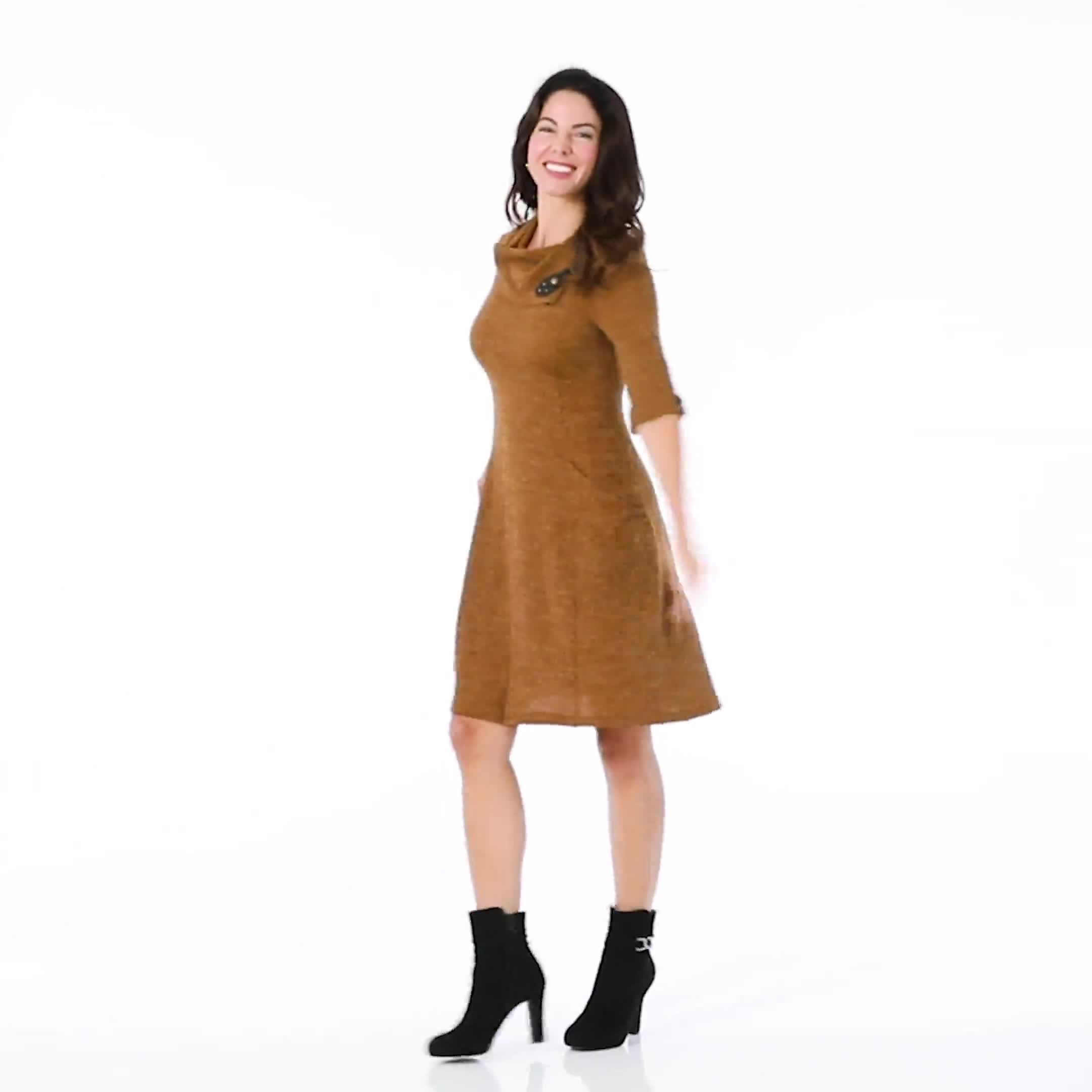 Cowl Neck with Buckle Knit Dress - Video