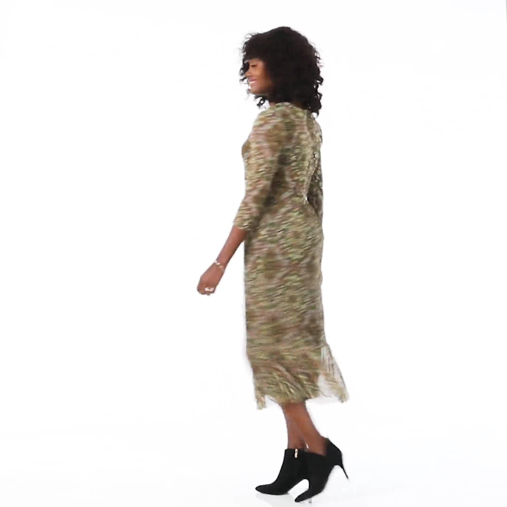 Victorian Art Print Midi Dress - Video