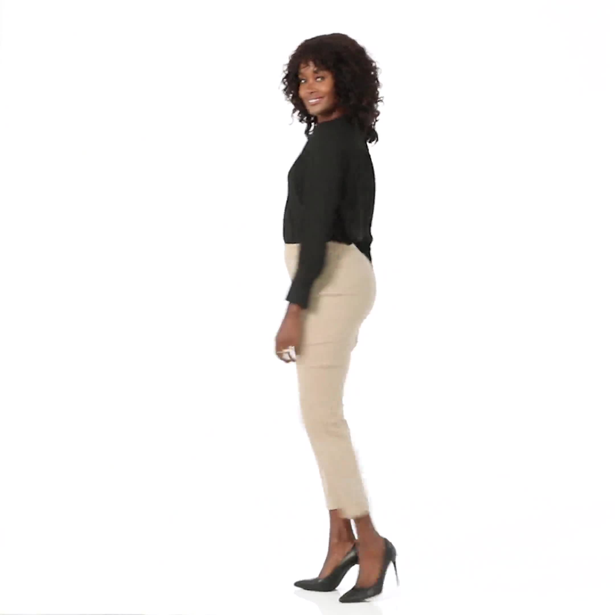 Roz & Ali Solid Superstretch Tummy Panel Pull On Ankle Pants With Rivet Trim Bottom - Video