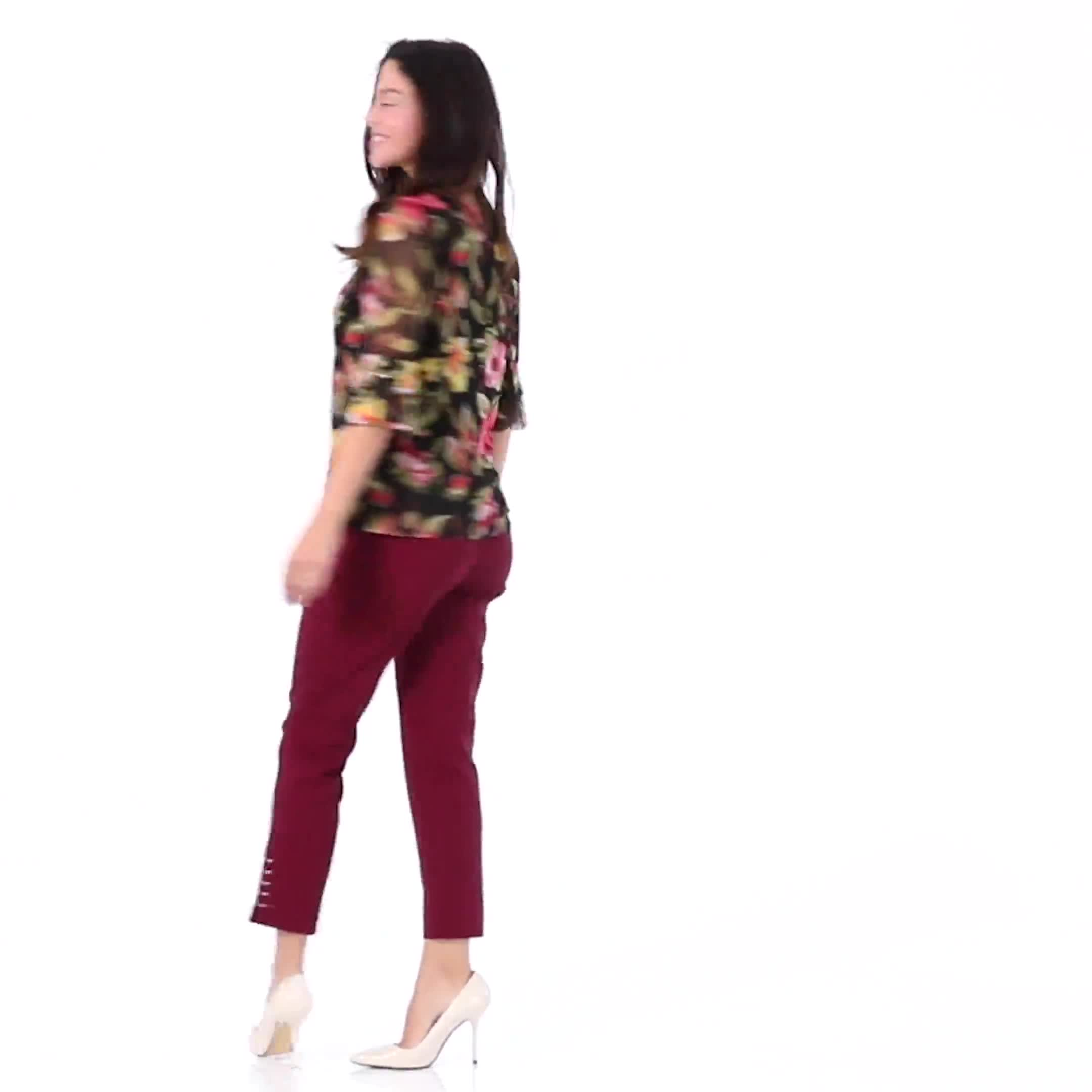 Roz & Ali Solid Superstretch Tummy Panel Pull On Ankle Pants With Rivet Trim Bottom - Misses - Video