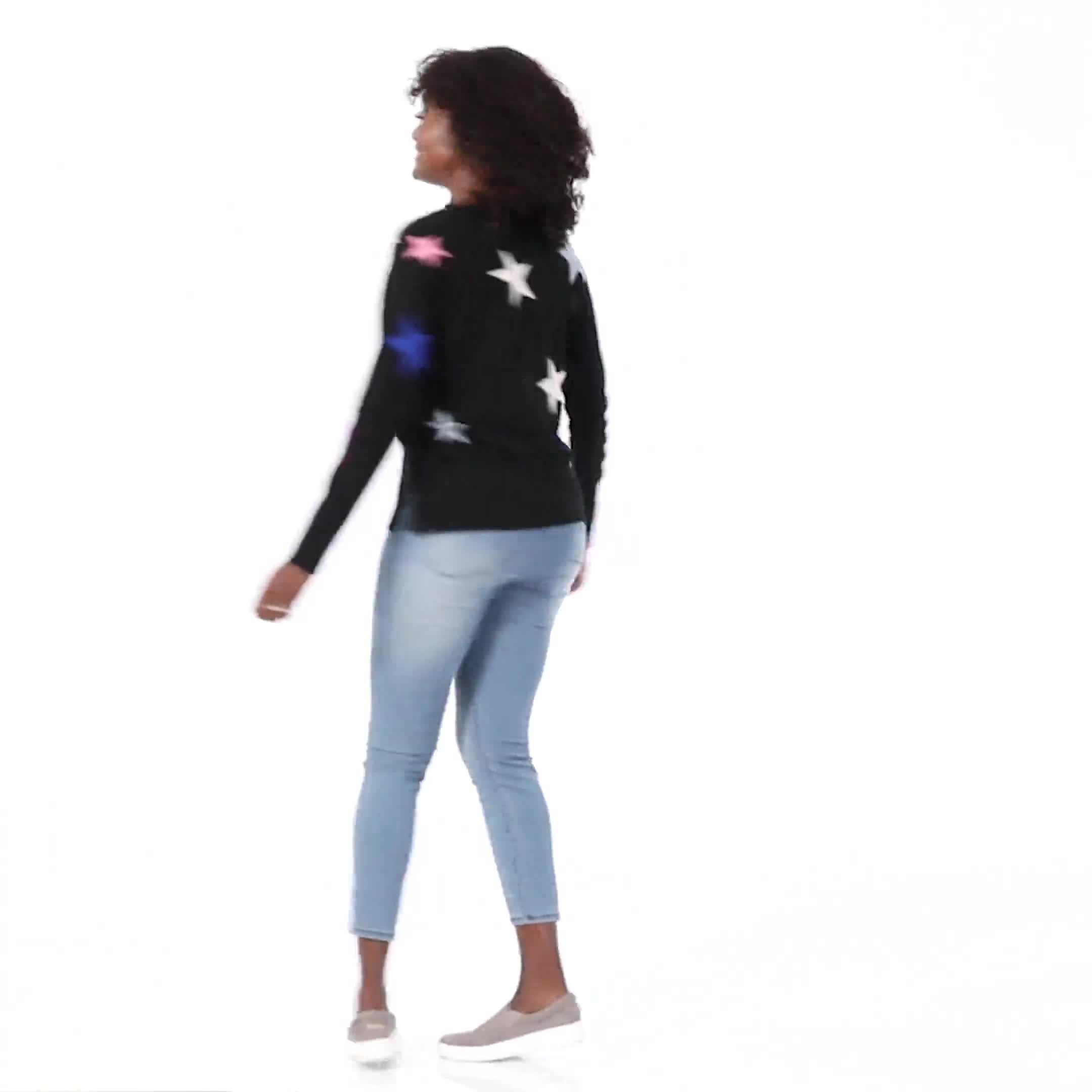 Roz & Ali Stars Pullover Sweater - Misses - Video