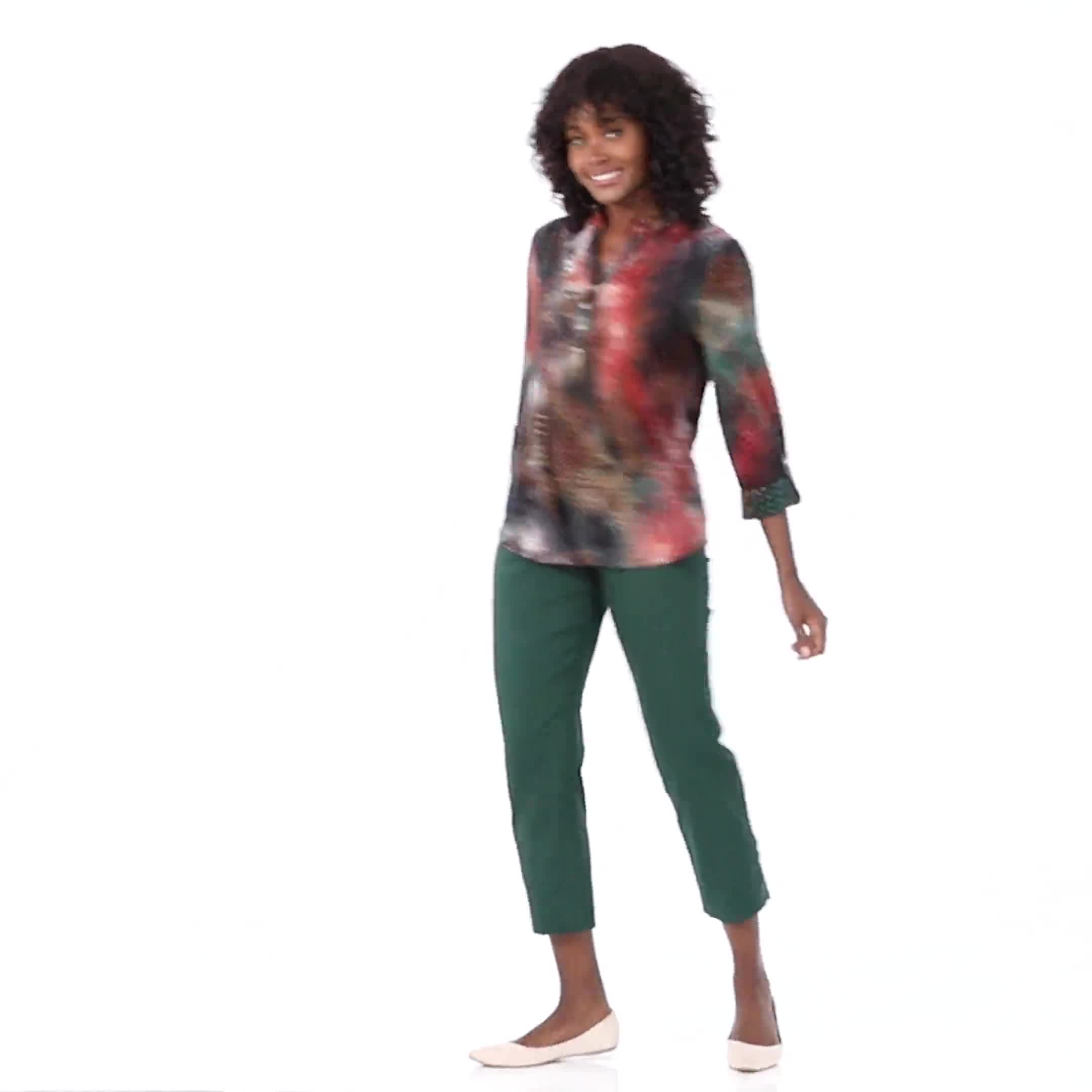 Superstretch Ankle Pants with Button Detail at the Hem - Video