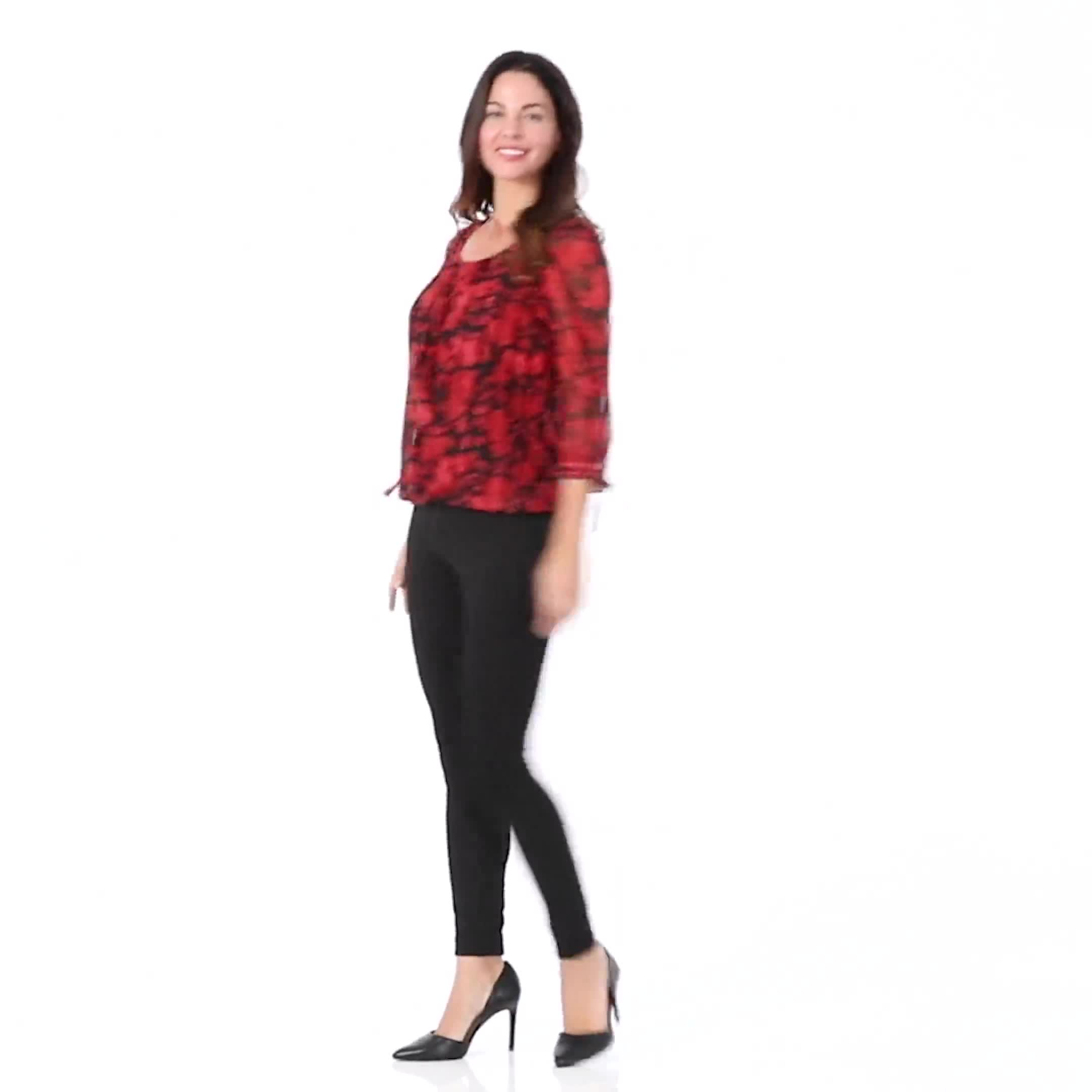 Ponte Pull on Legging with Seam Detail - Video