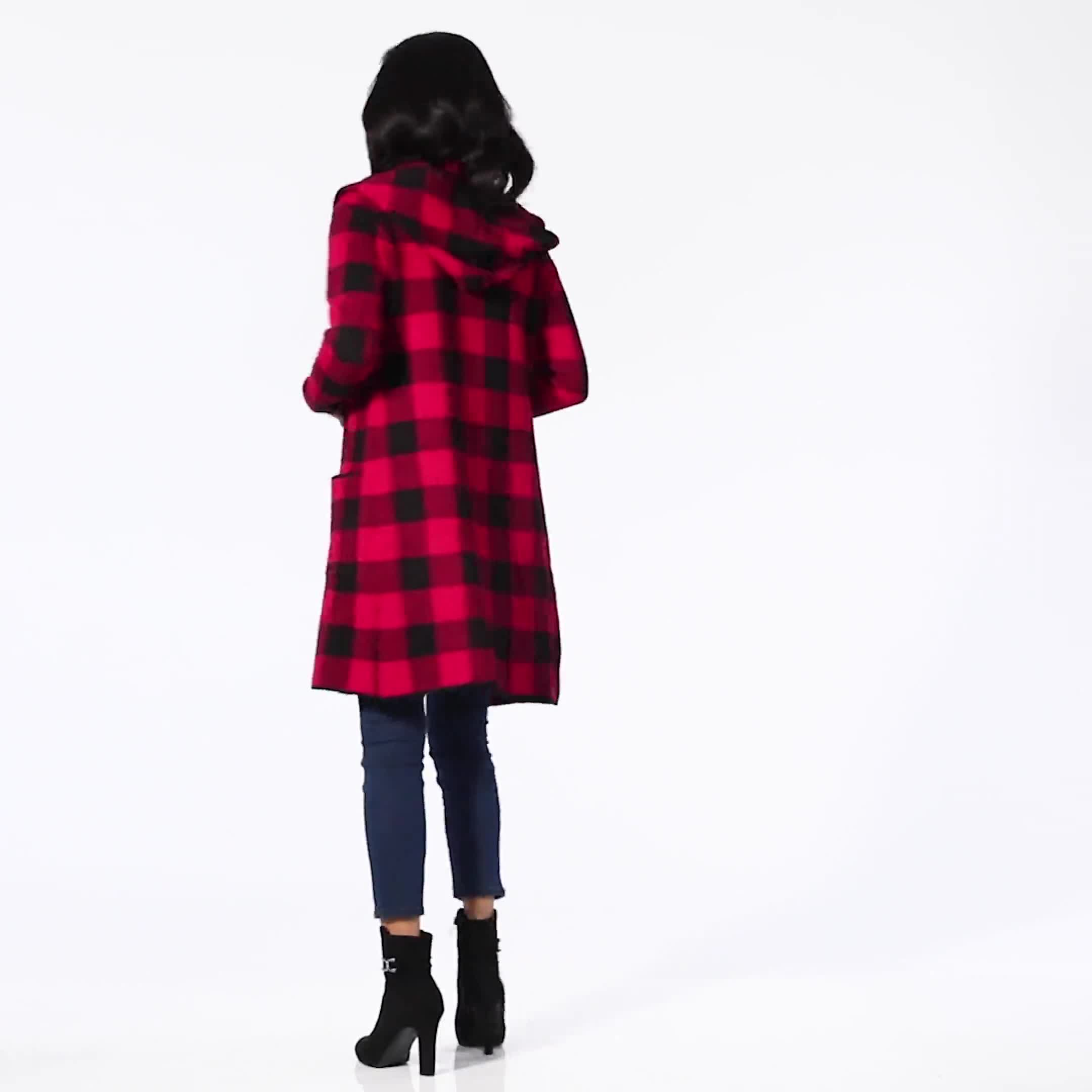 Roz & Ali Buffalo Plaid Sweater Coat - Video