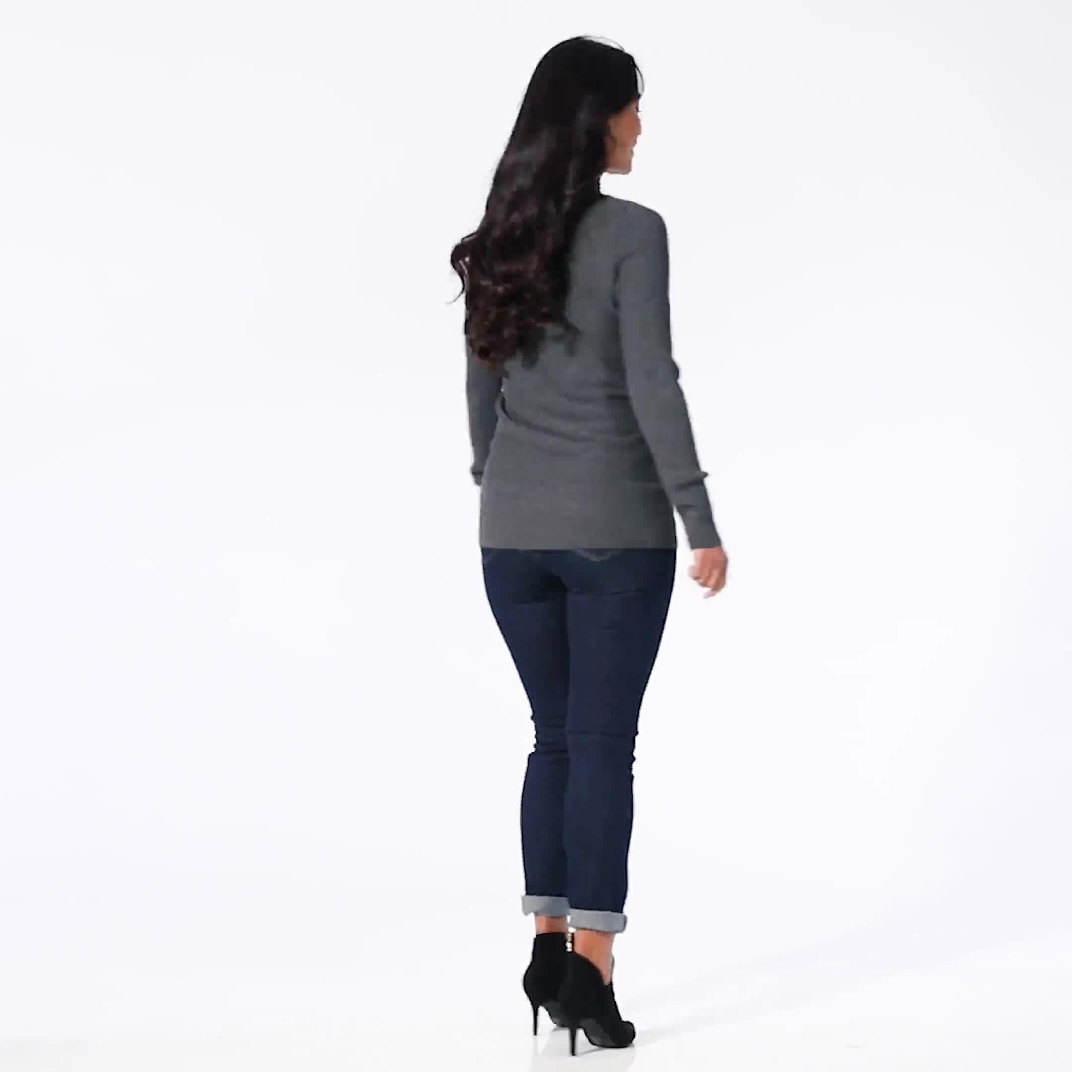 Roz & Ali Ottoman Mock Neck Hi-Lo Pullover Sweater - Video