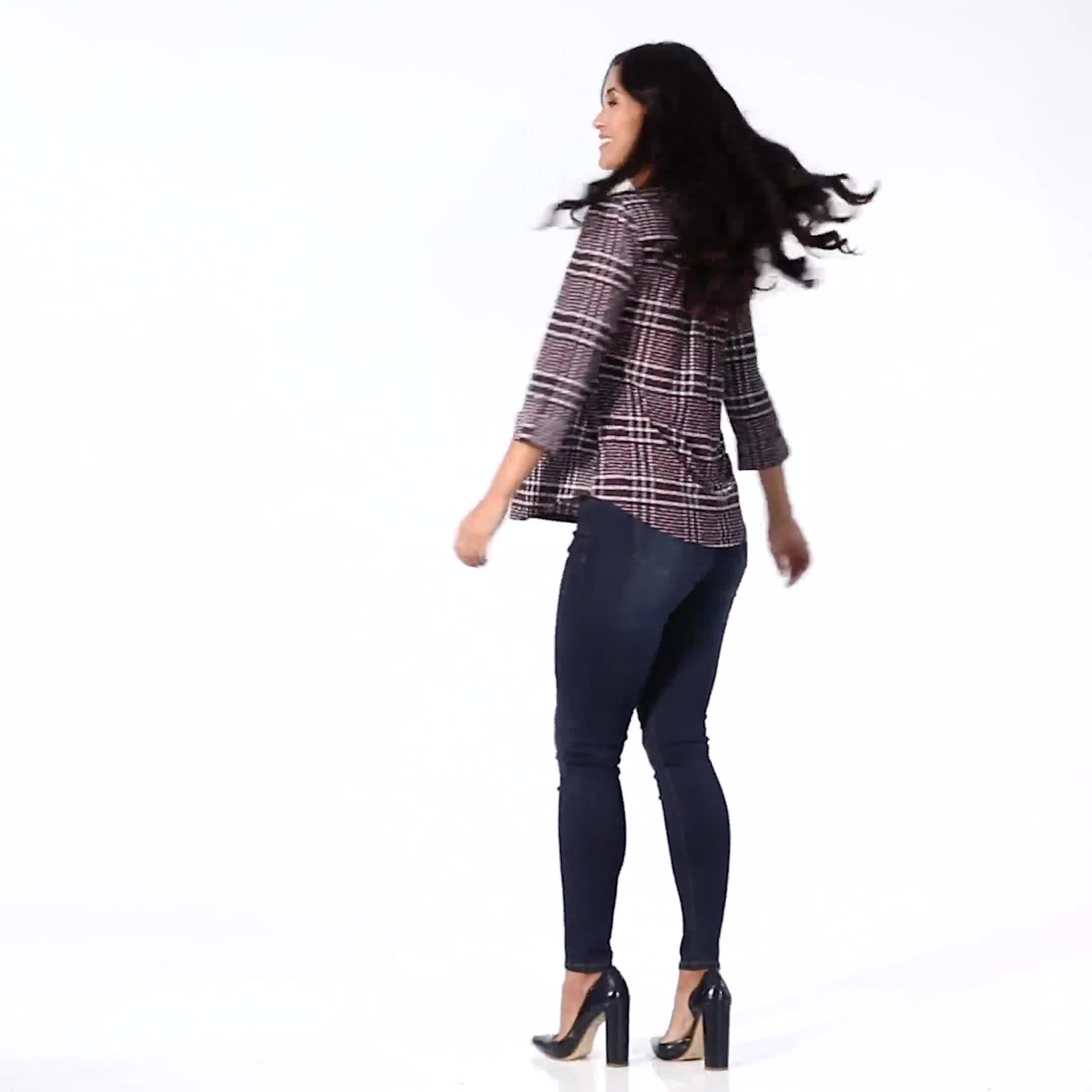 Roz & Ali Plaid Pintuck Knit Popover - Video