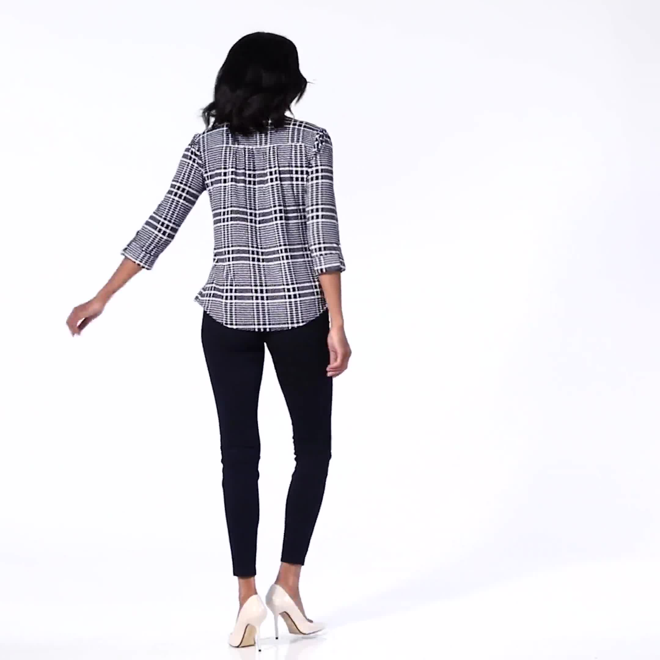 Roz & Ali Navy Plaid Pintuck Knit Popover - Video