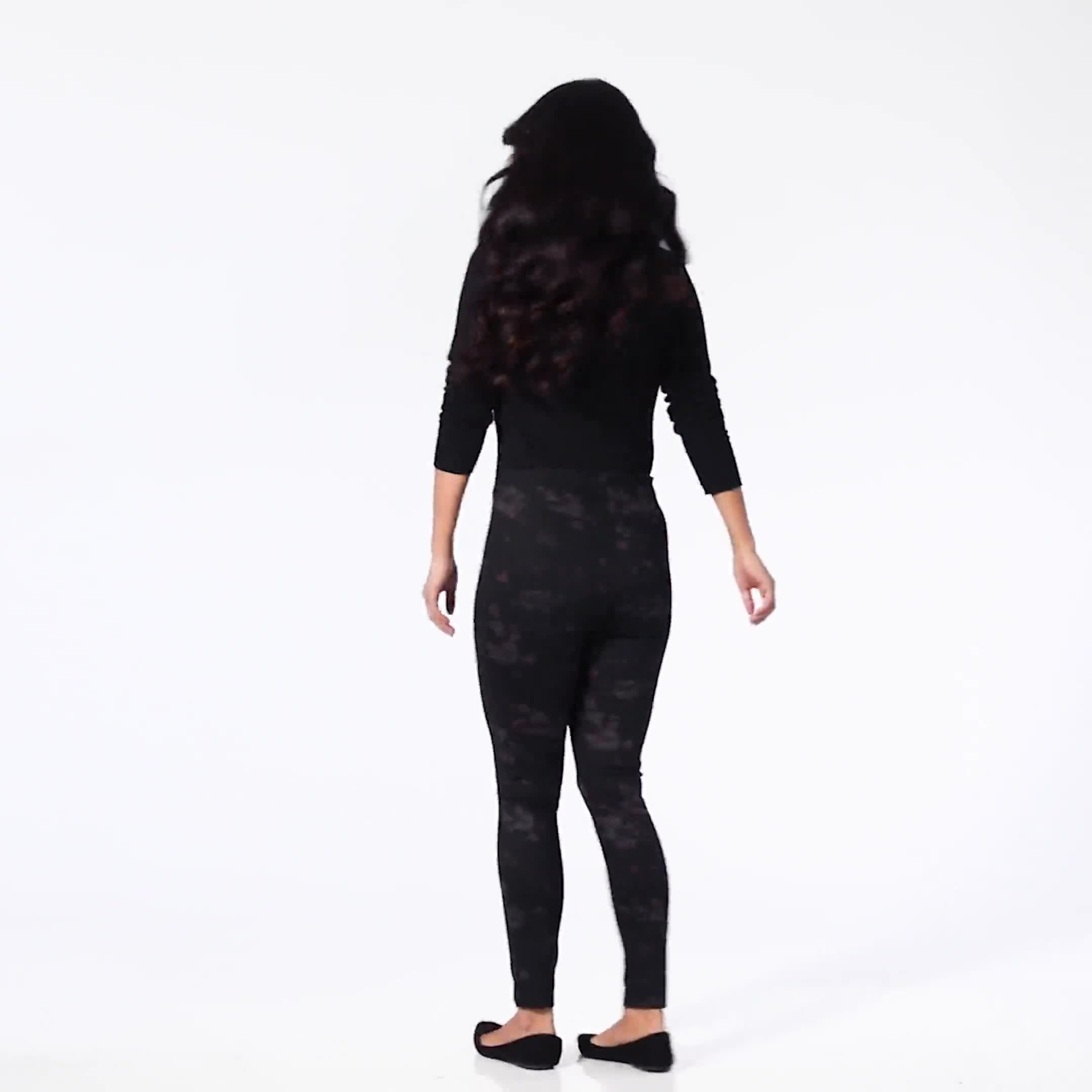 Ponte Floral Print Pull on Legging with Interior Elastic Waistband - Video
