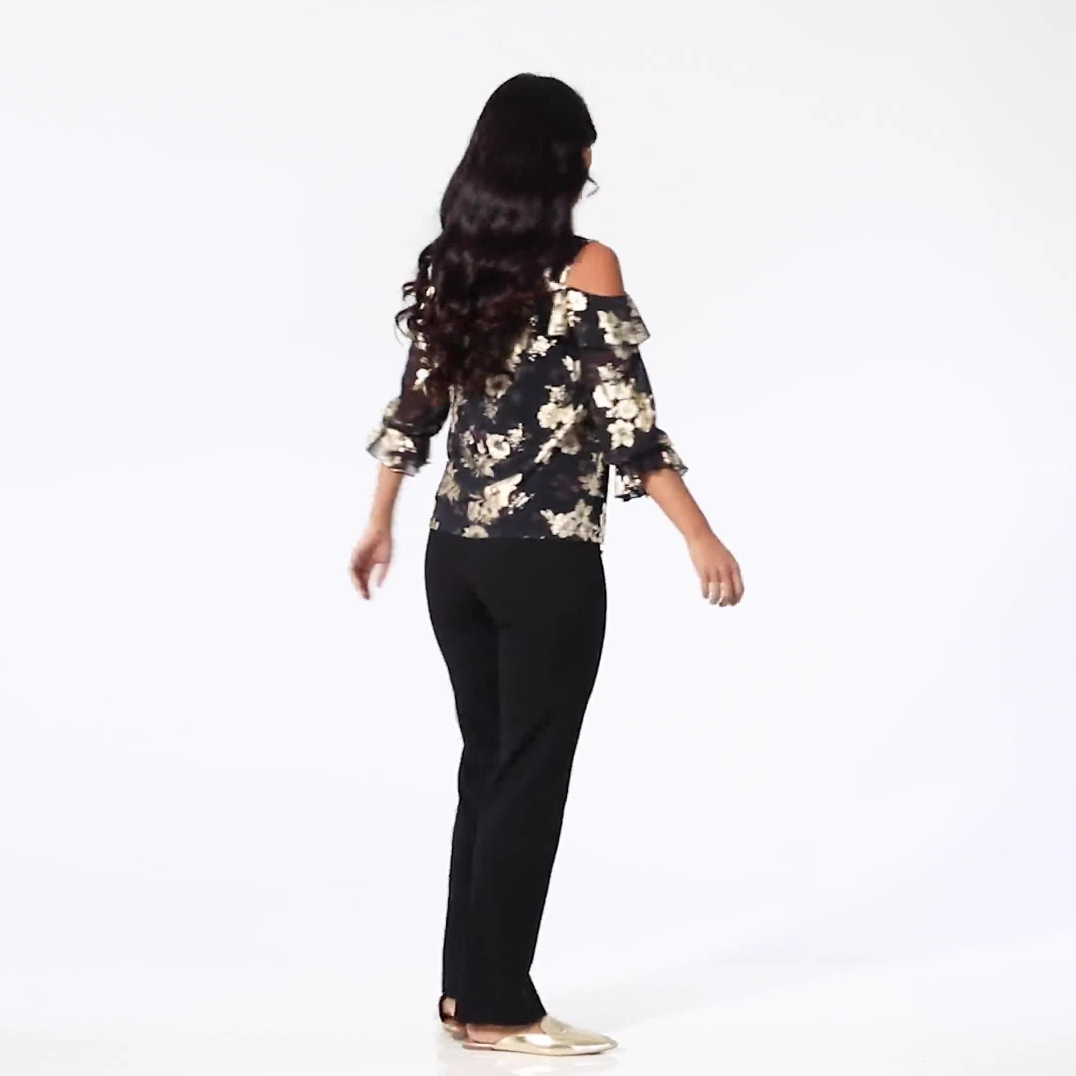 Roz & Ali Gold Floral Cold Shoulder Blouse - Misses - Video