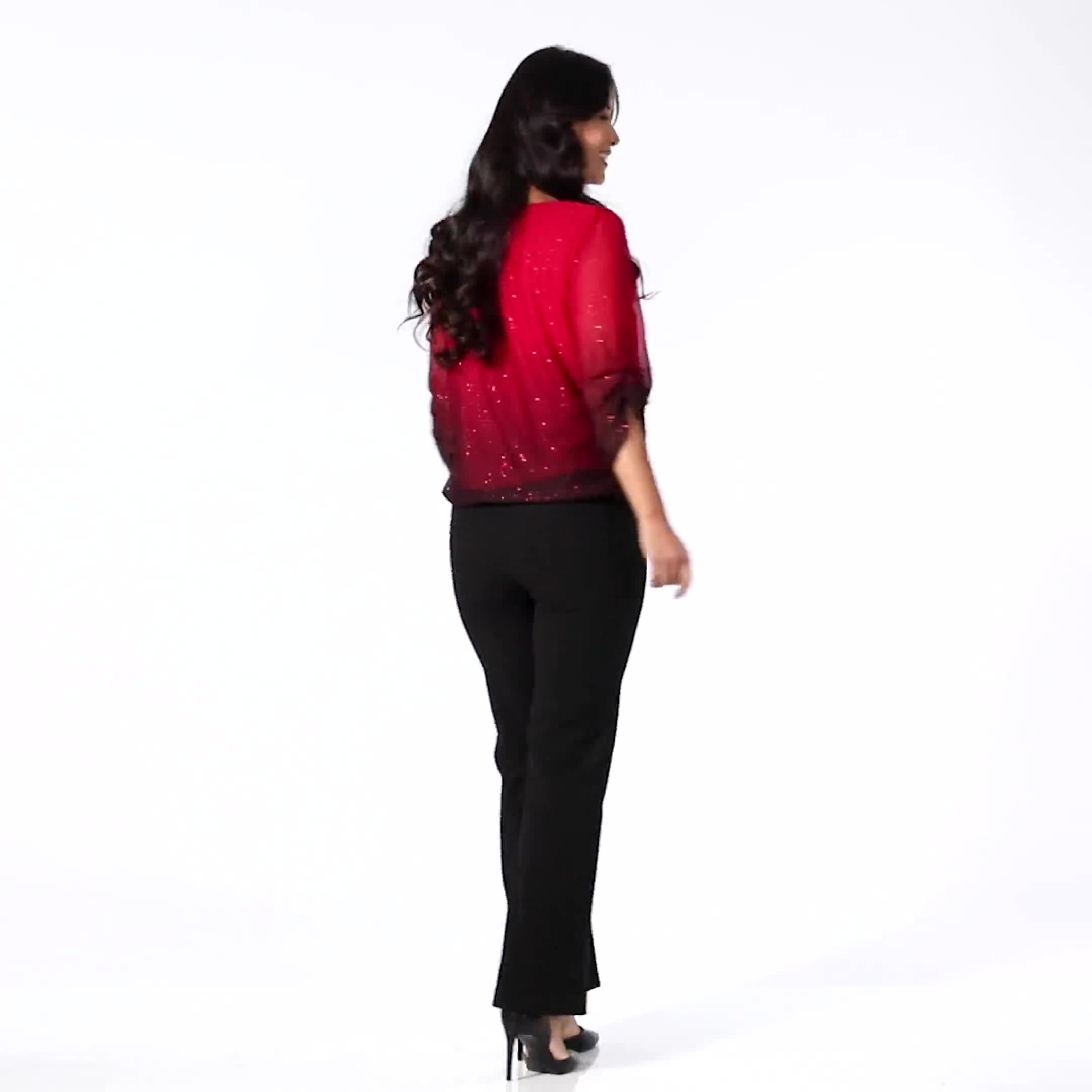 Roz & Ali Glitter Ombre Bubble Hem Blouse - Video