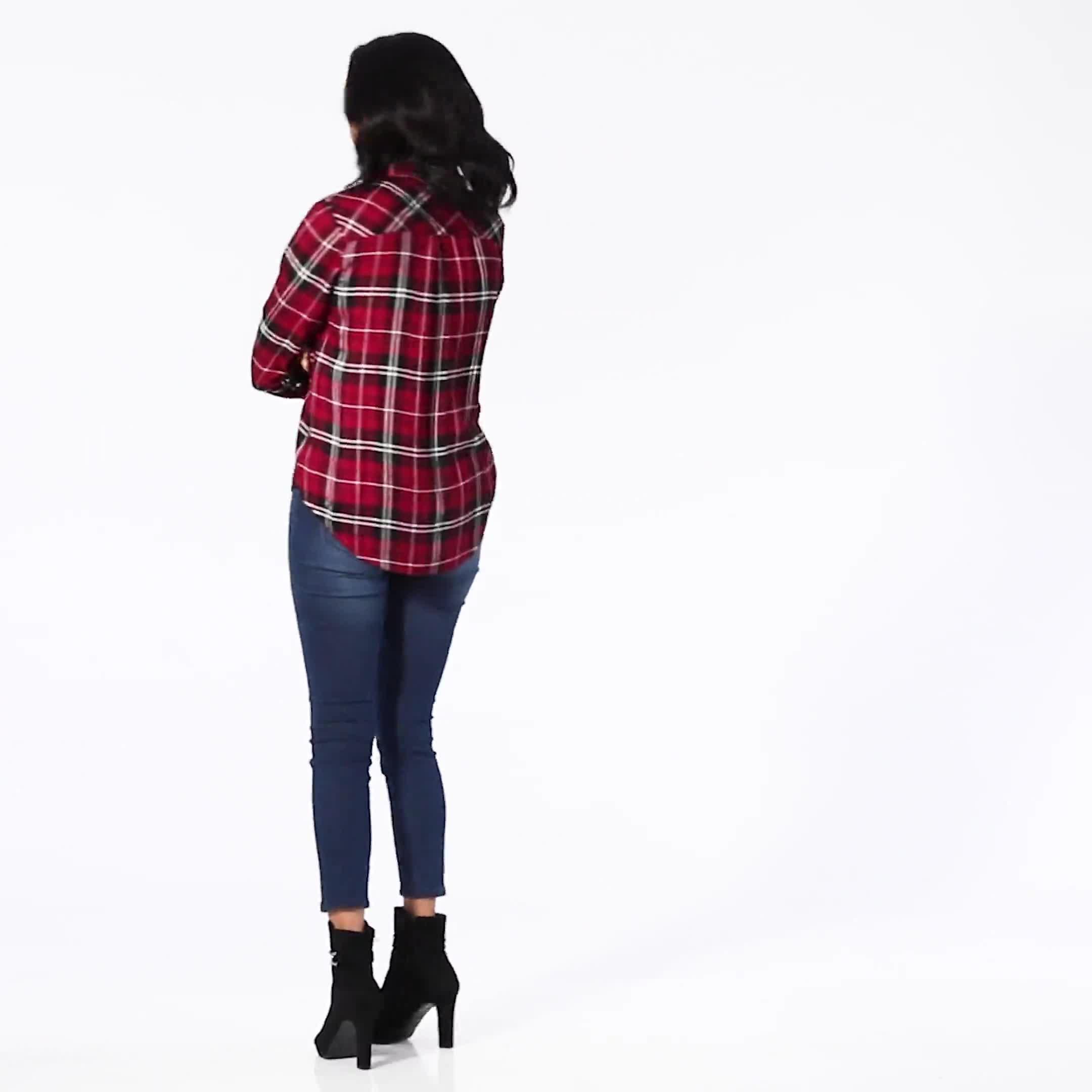Red Rayon Plaid Long Sleeve Roll Tab Shirt - Video