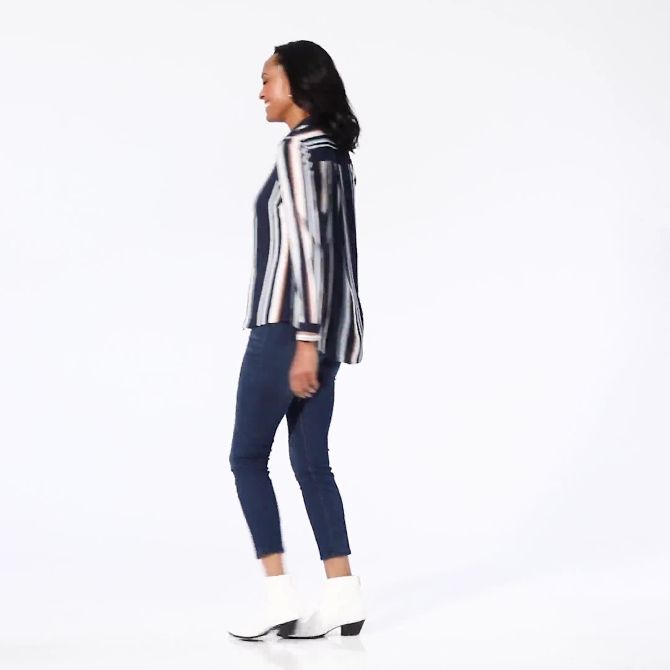 Westport Rayon Stripe Button Front Shirt - Video