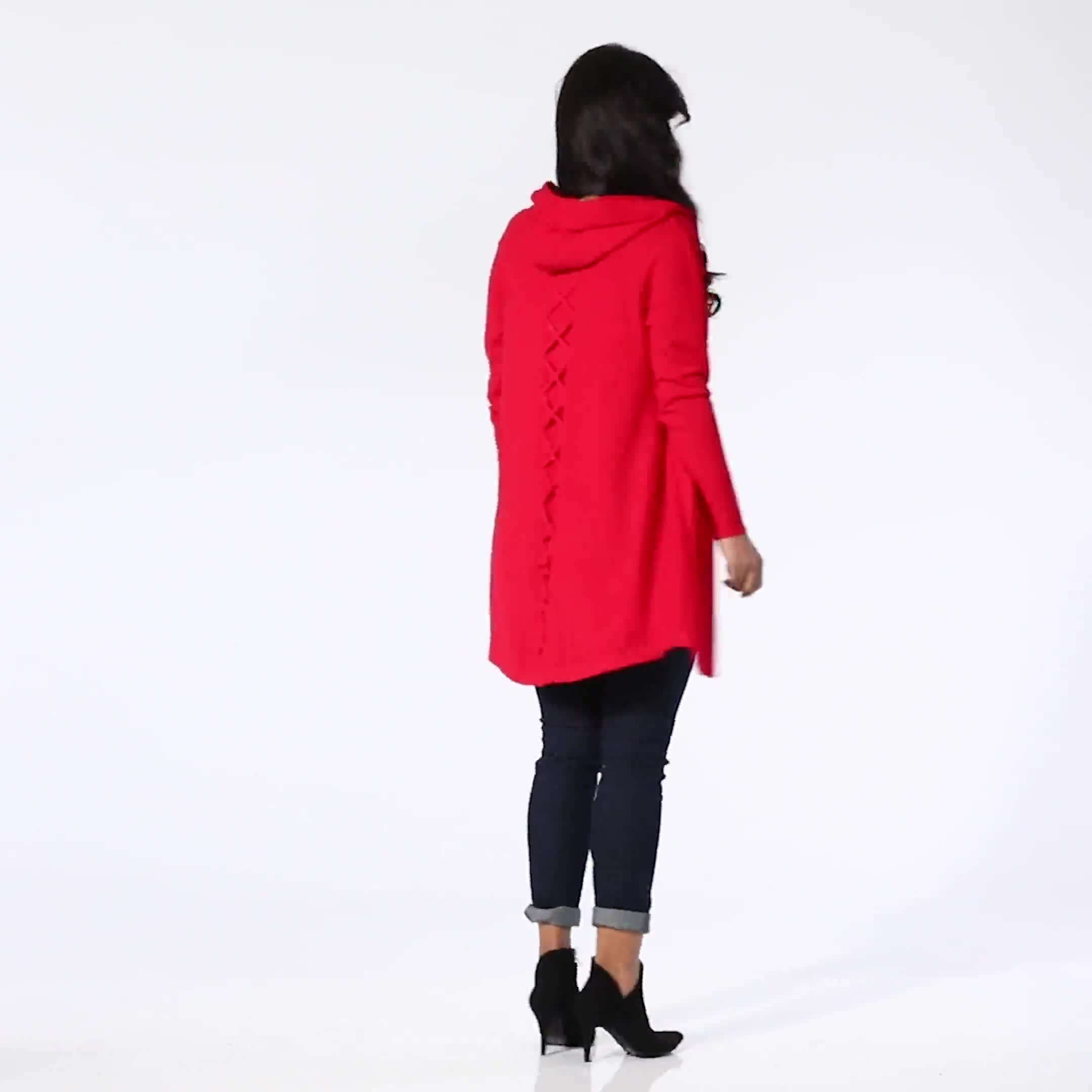 Roz & Ali Crisscross Back Sweater Duster - Video