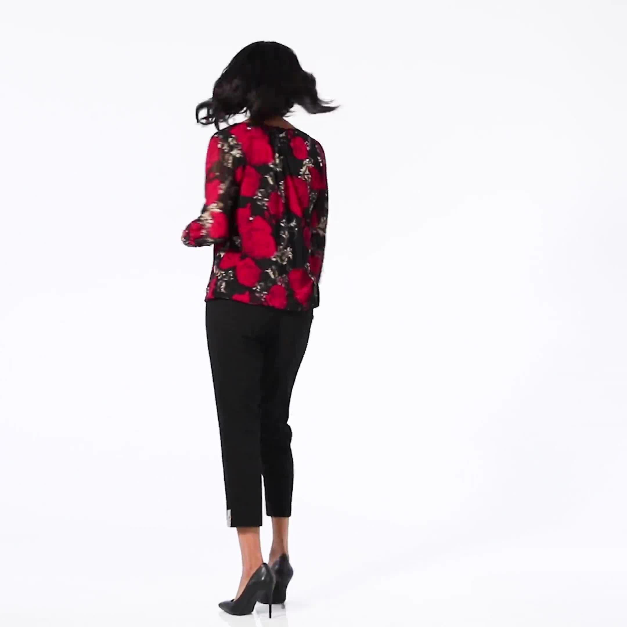 Roz & Ali Floral Bubble Hem Blouse - Video