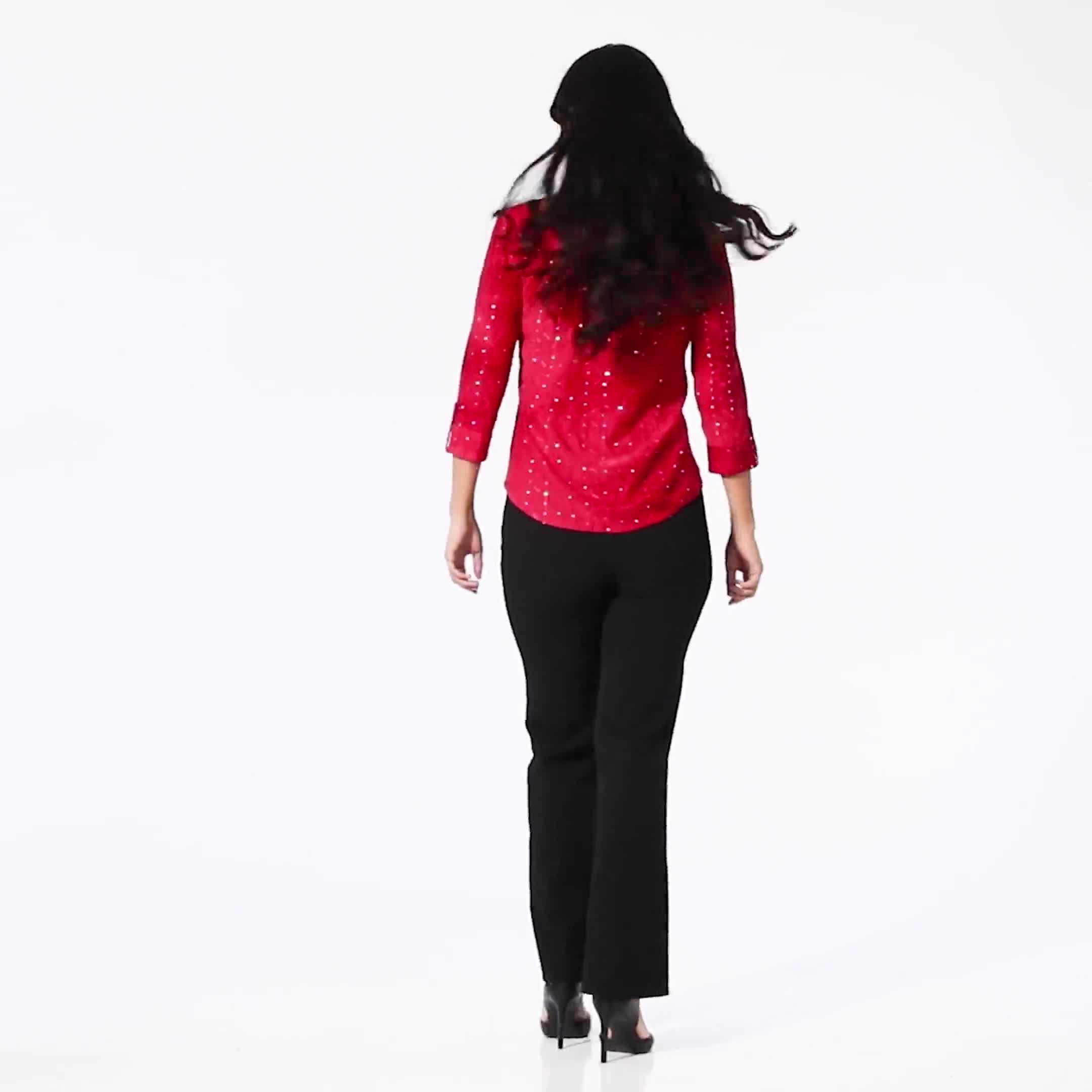 Roz & Ali Tie Dye Sequin Pintuck Popover - Petite - Video