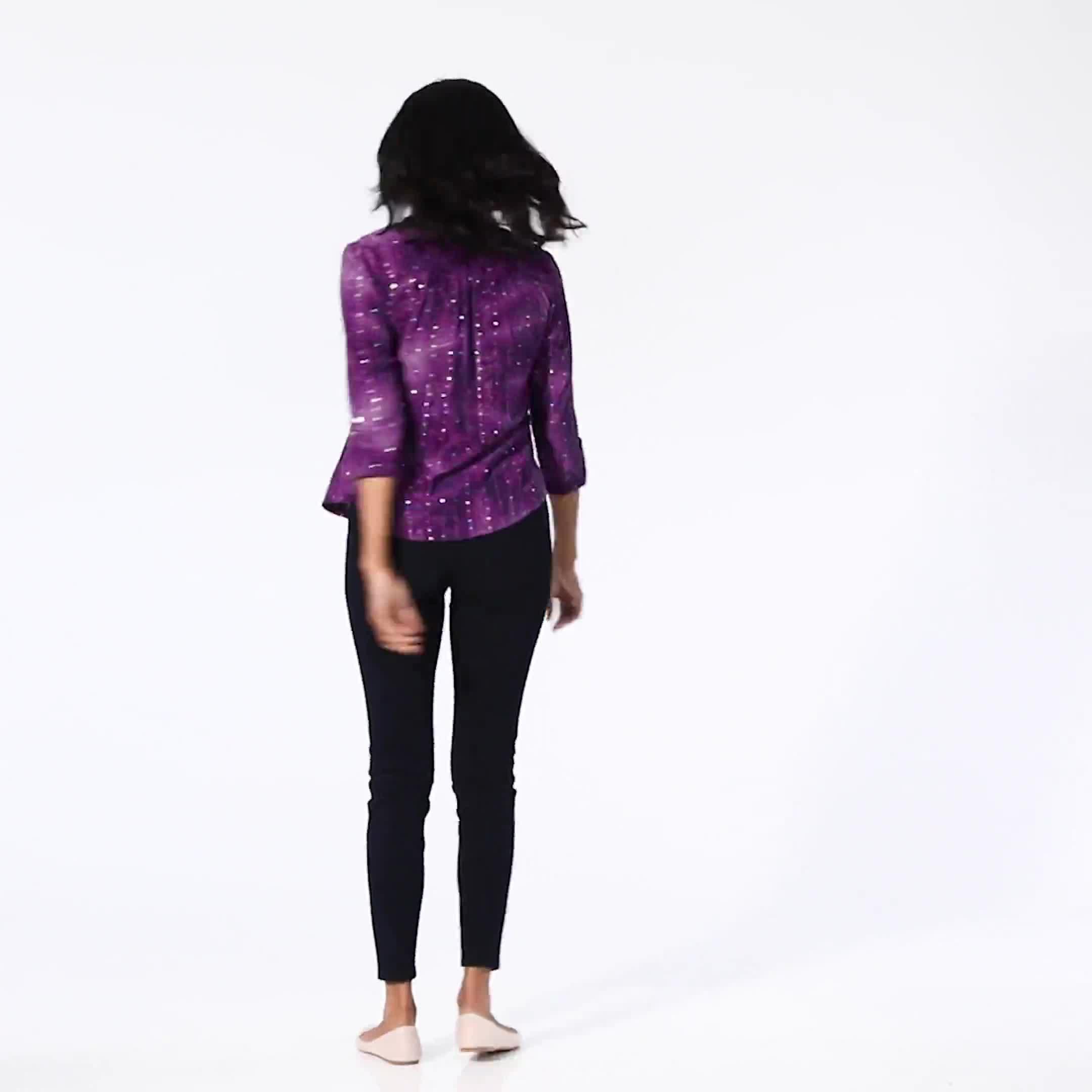 Purple Sequin Tie Dye Pintuck Popover - Petite - Video