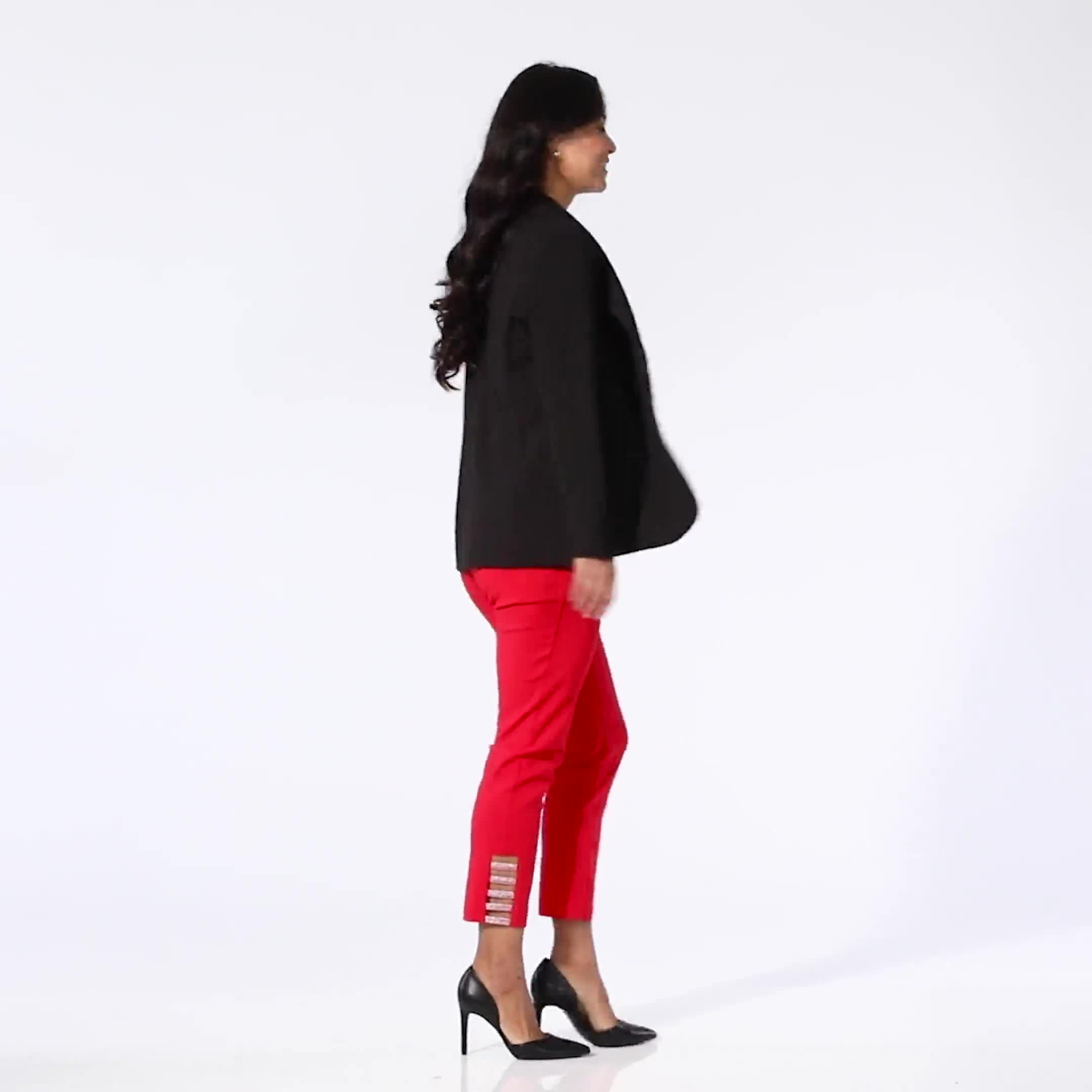 Roz & Ali Superstretch Pull On Ankle Pant with Heat Seal Band Trim - Video