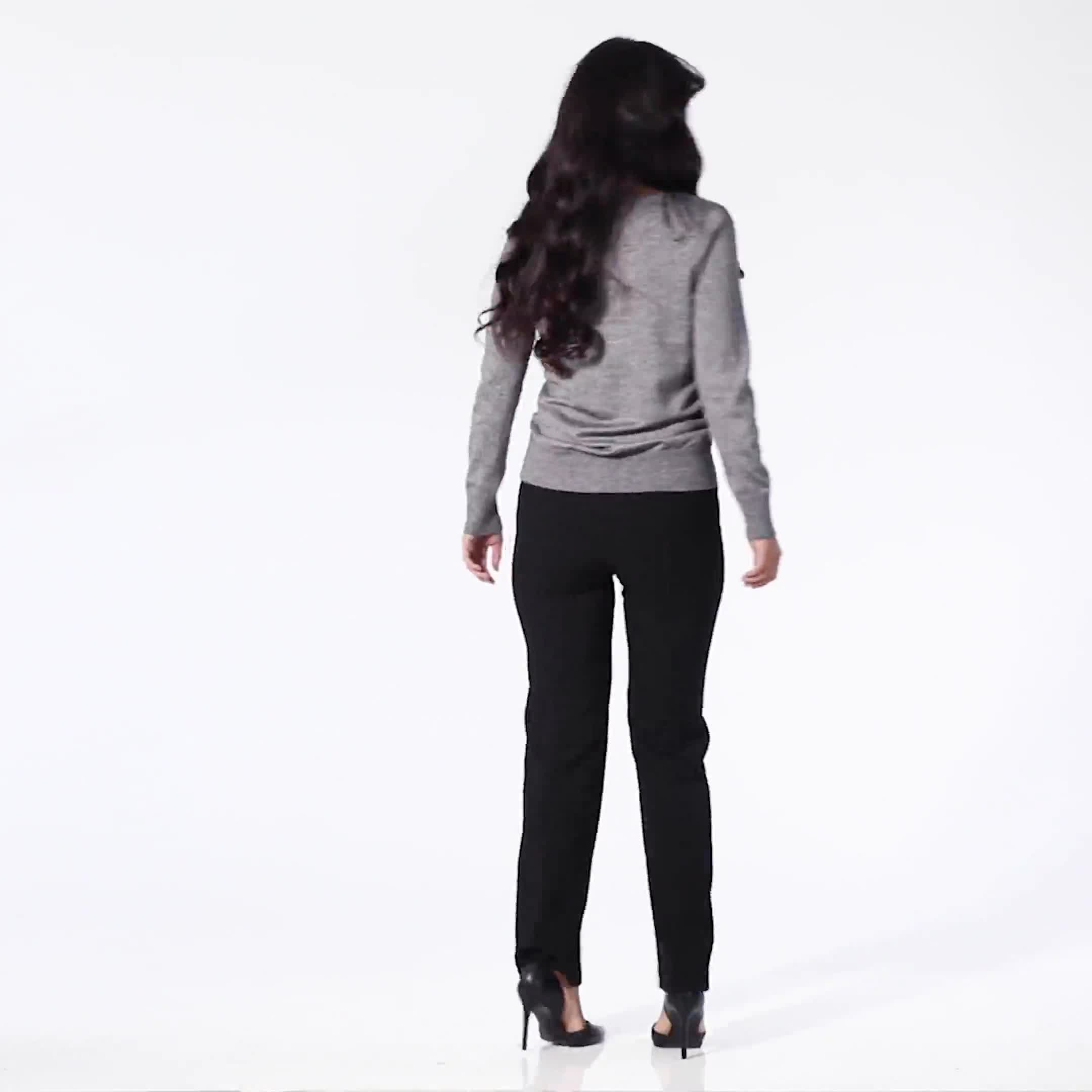 Roz & Ali Side Ruched Curved Hem Sweater - Plus - Video