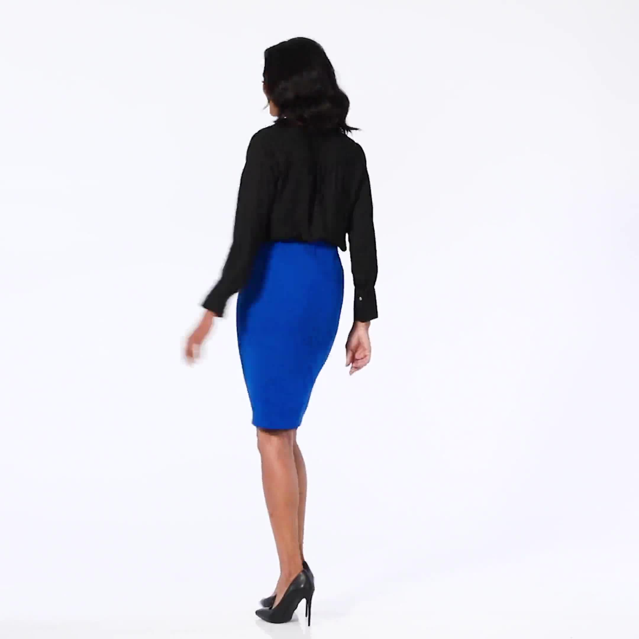 Pencil Skirt with Hardware Trims and Tab Detail - Video