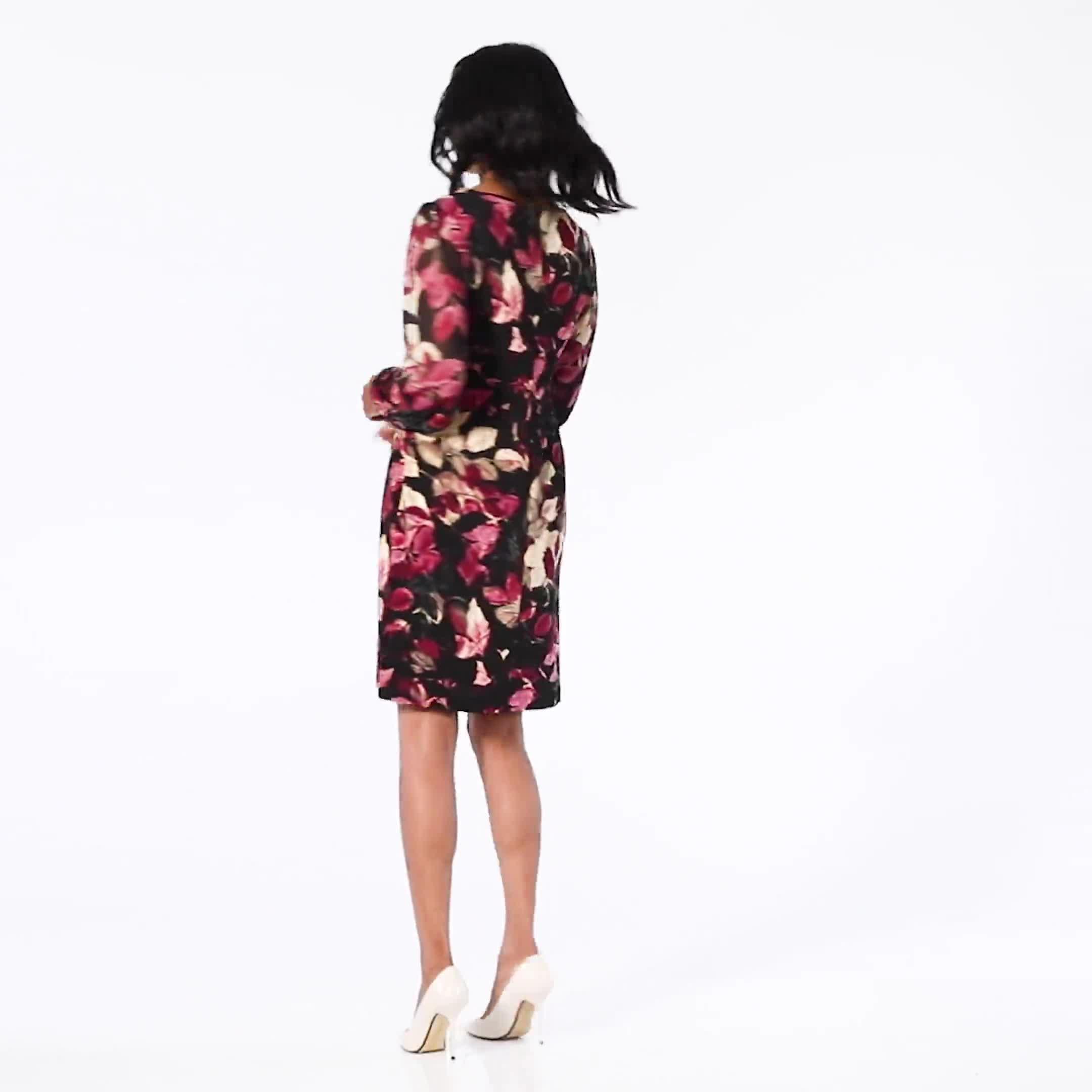 Long Sleeve Rosewood Leaf Printed Sheath Dress - Video