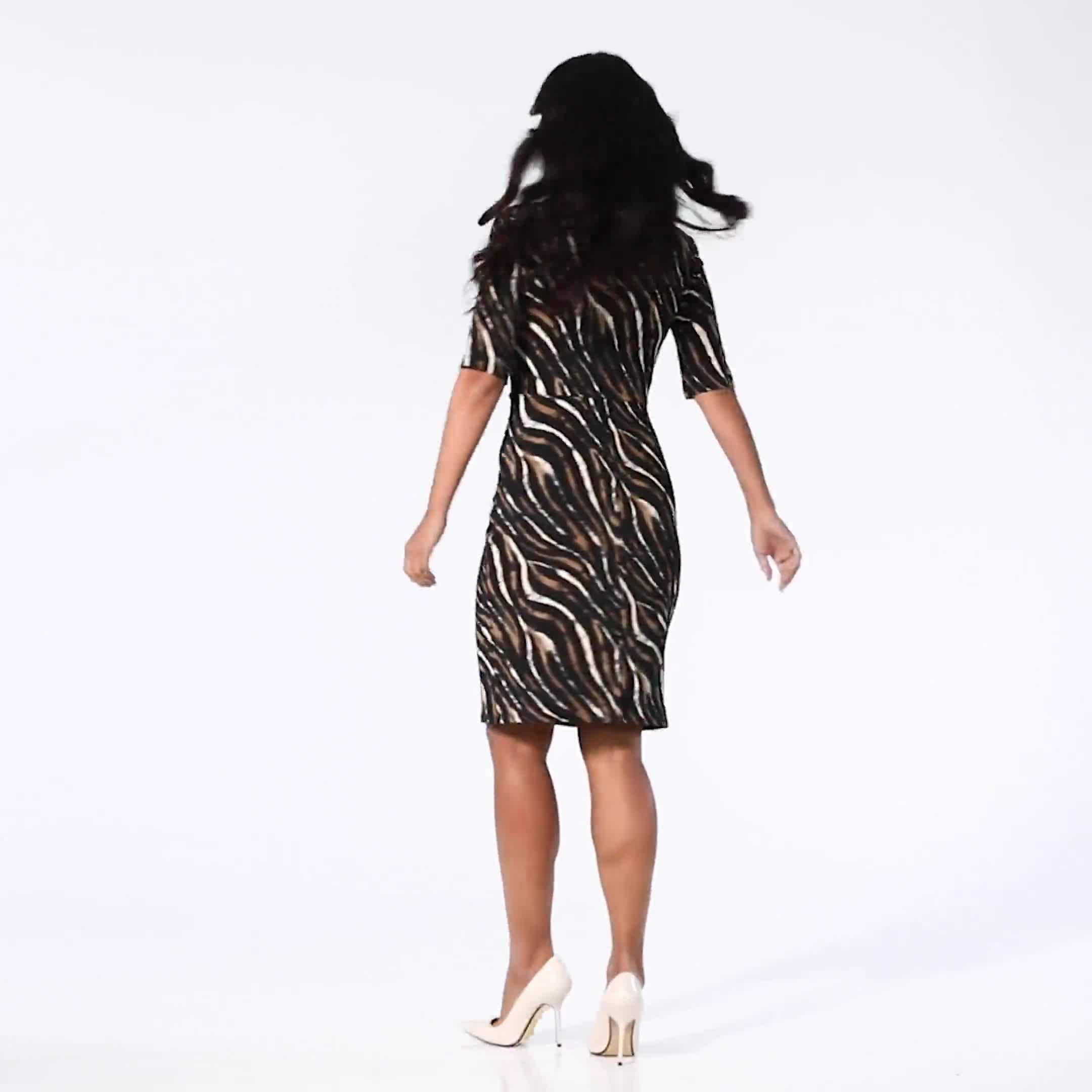 Zebra  Faux Wrap Dress - Video