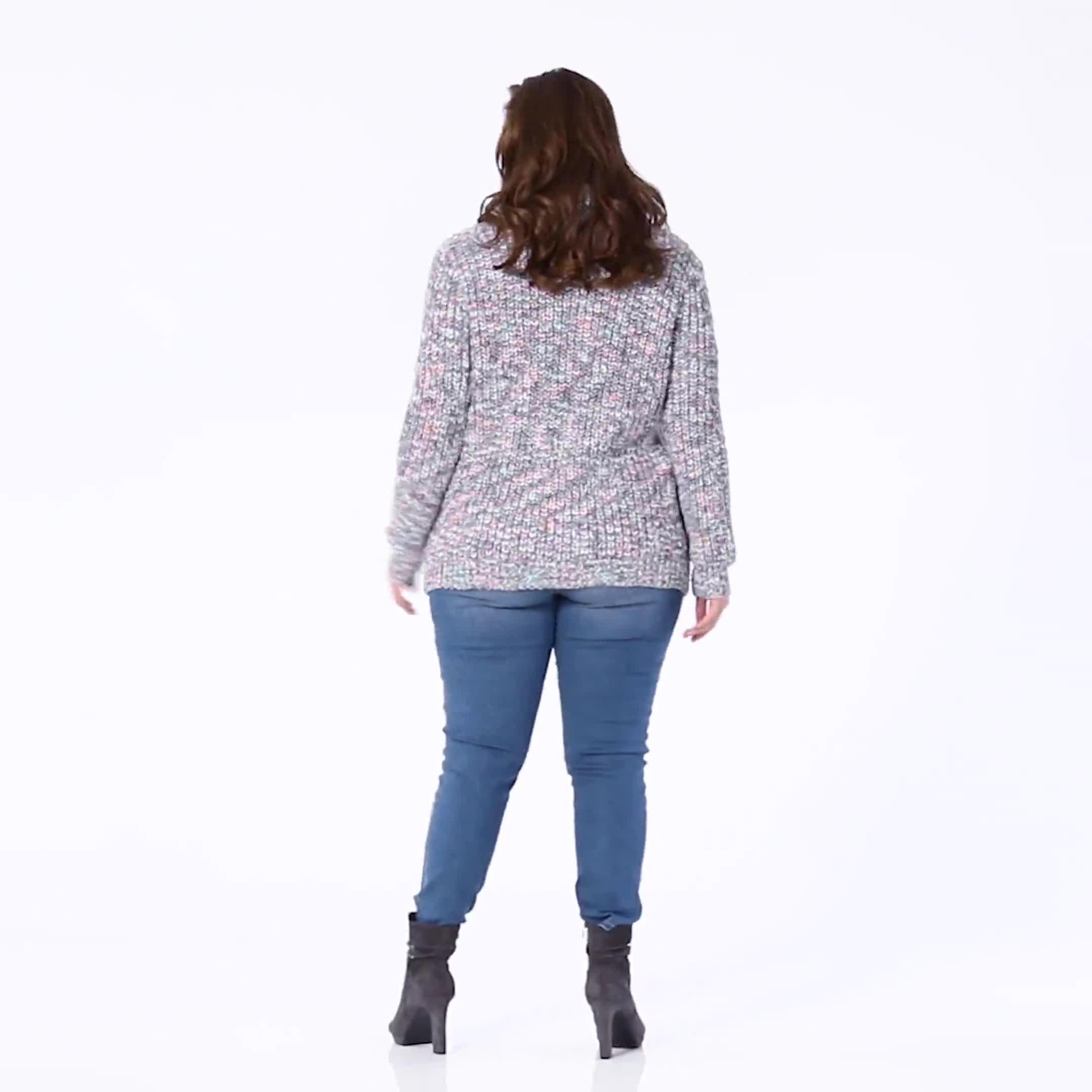 Roz & Ali Novelty Split Neck Pullover Sweater - Video