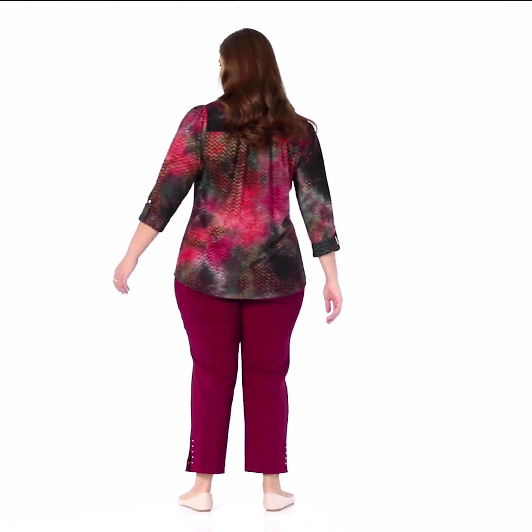 Roz & Ali Solid Superstretch Tummy Panel Pull On Ankle Pants With Rivet Trim Bottom - Plus - Video