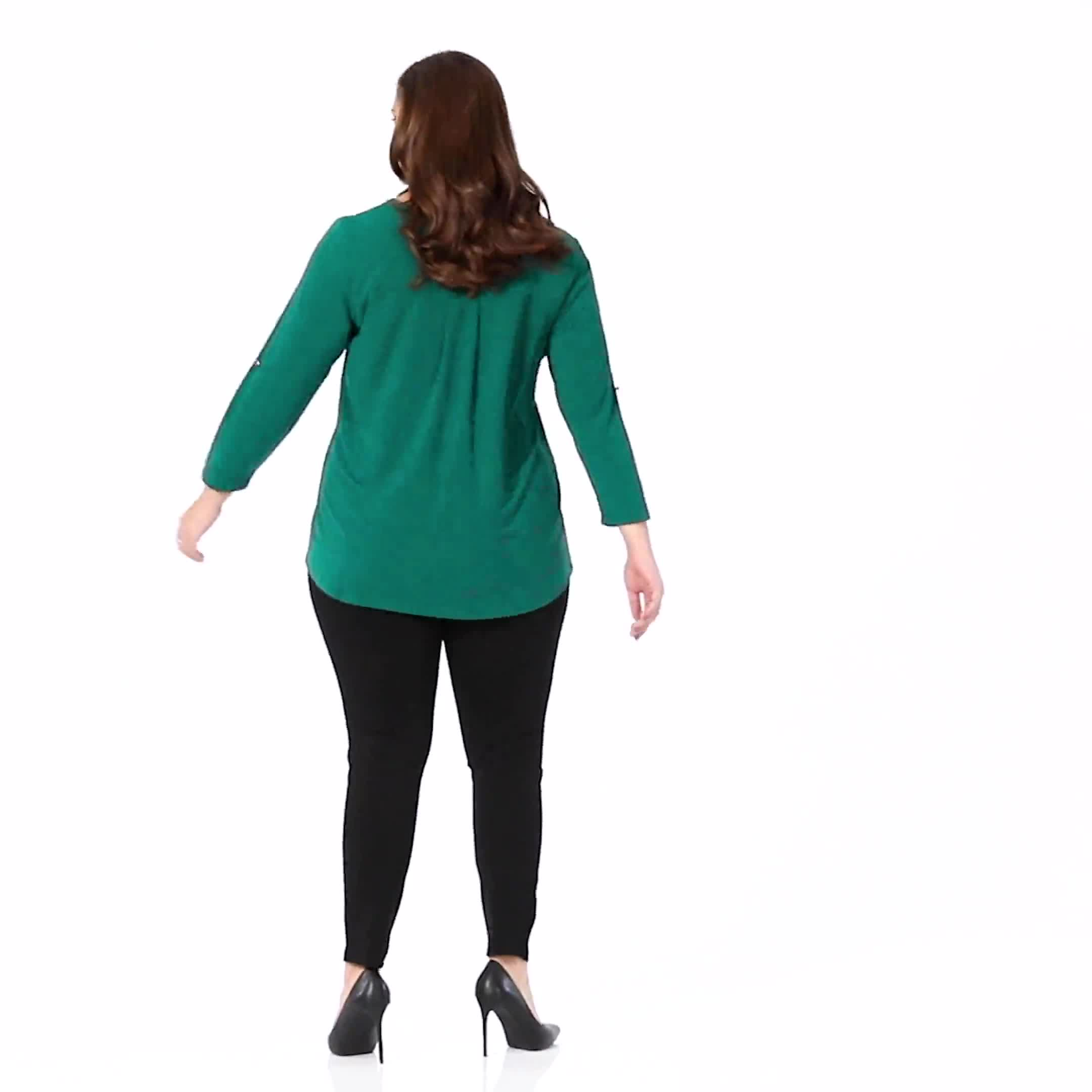 Roz & Ali Zip Front Knit Top - Plus - Video