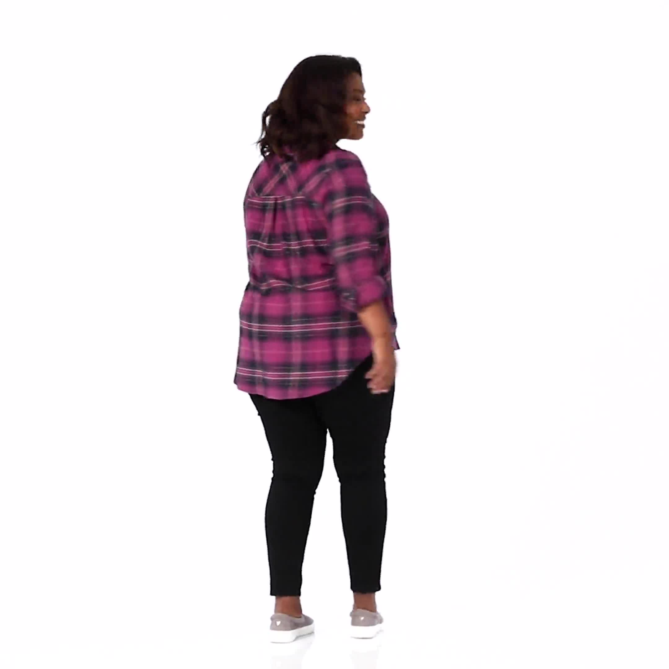 """Burgundy Plaid """"To Tie Or Not To Tie"""" Shirt - Plus - Video"""