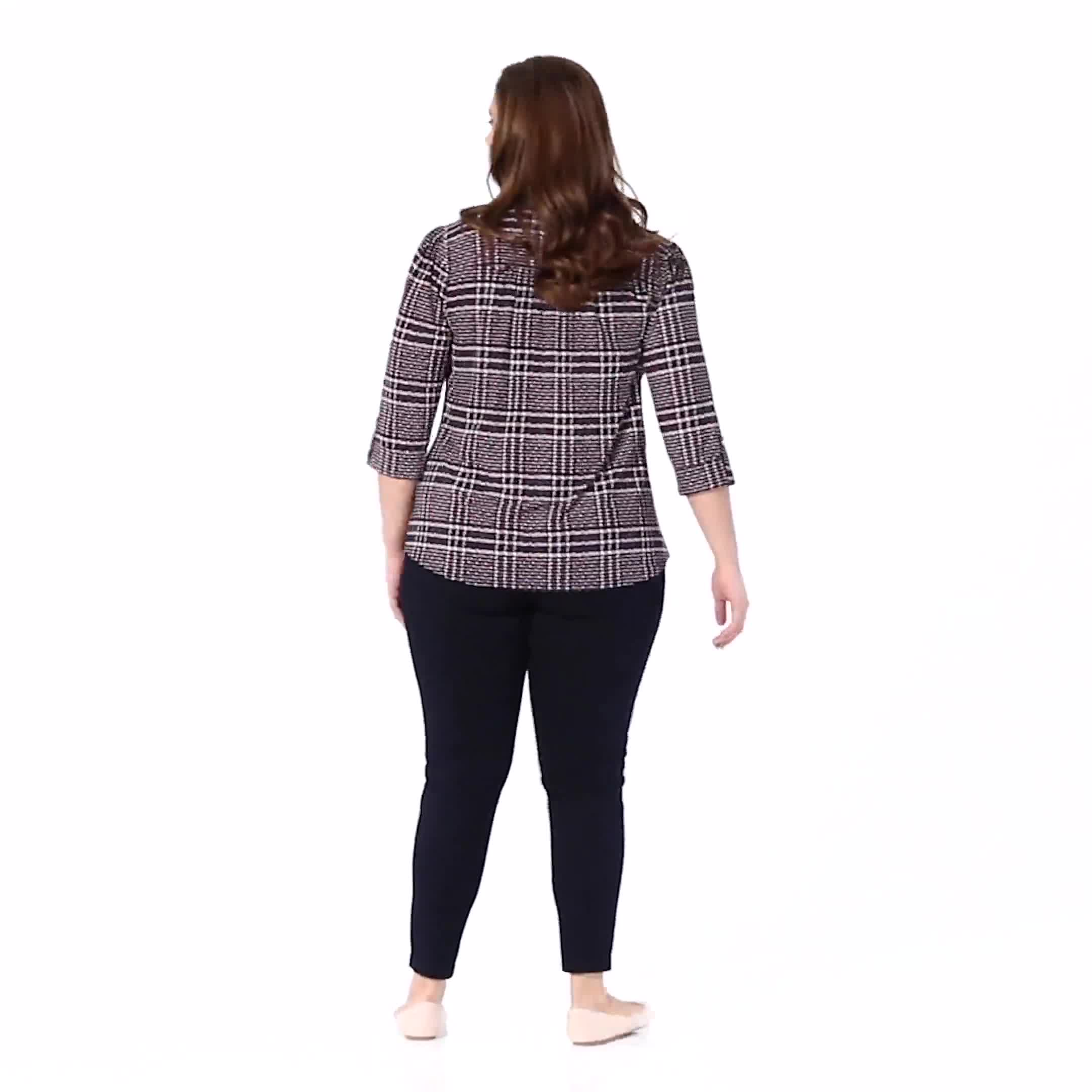Roz & Ali Navy And Red Plaid Popover - Plus - Video