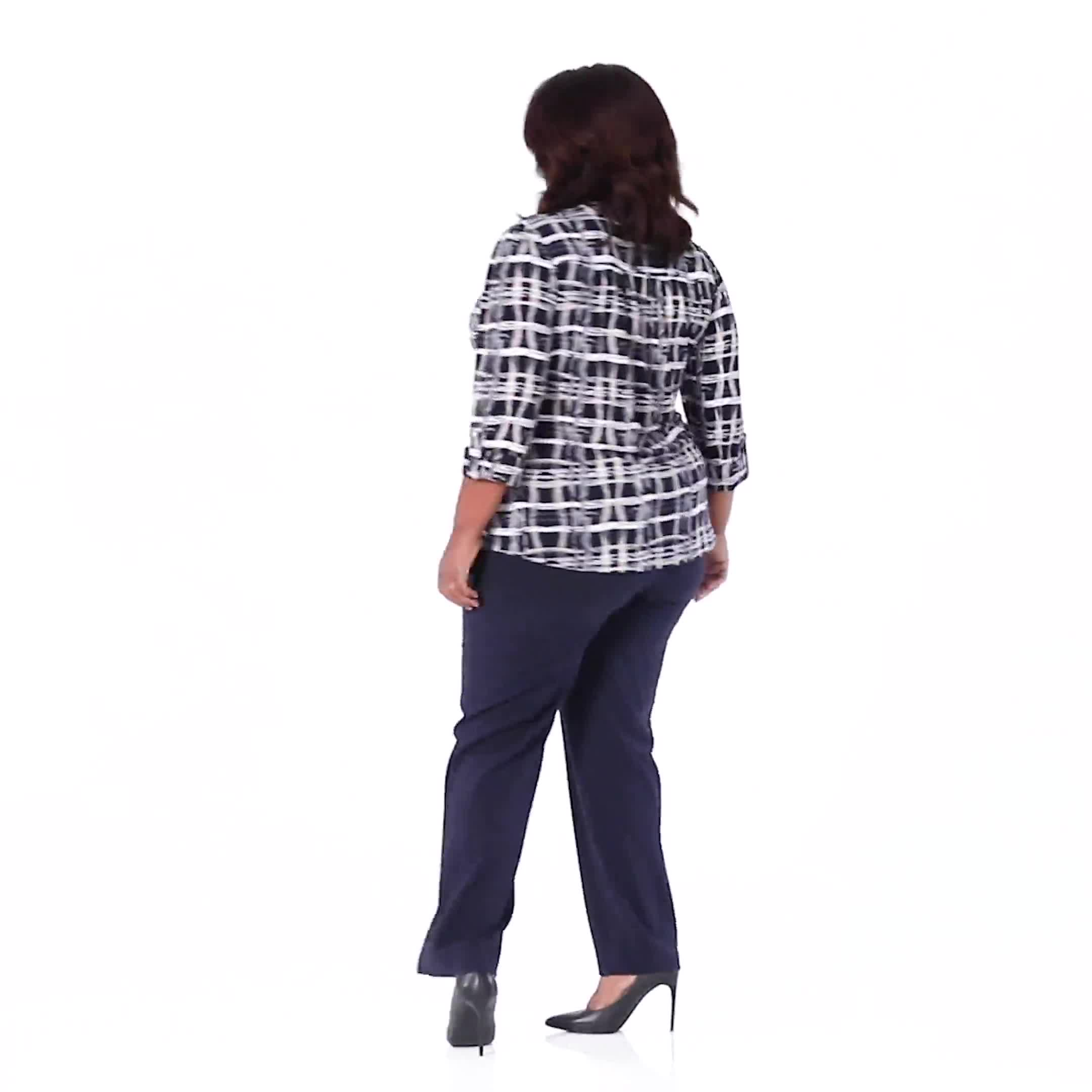 Roz & Ali Plaid Pintuck Knit Popover - Plus - Video