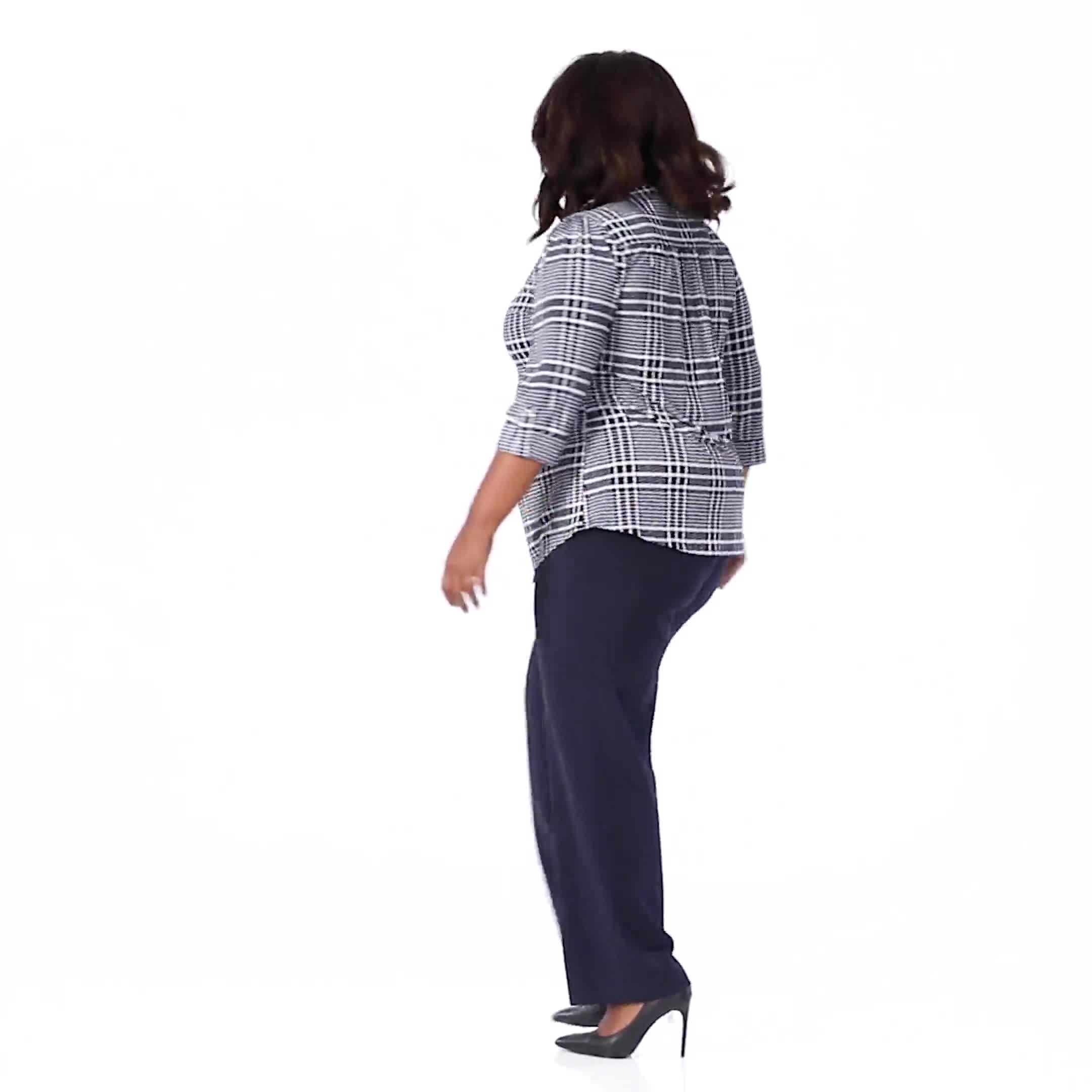 Roz & Ali Navy Plaid Pintuck Knit Popover - Plus - Video