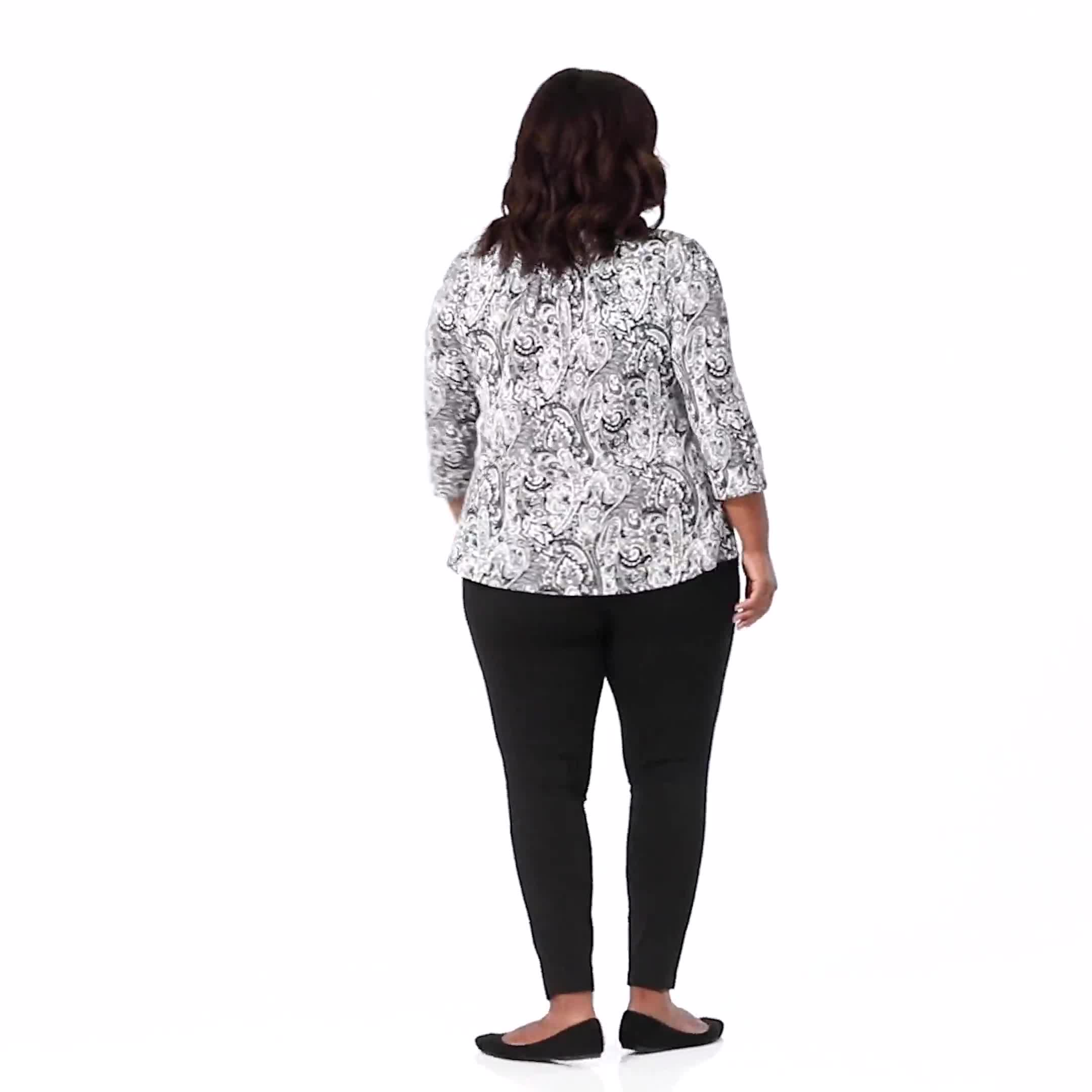 Ponte Pull on Legging with Seam Detail - Plus - Video
