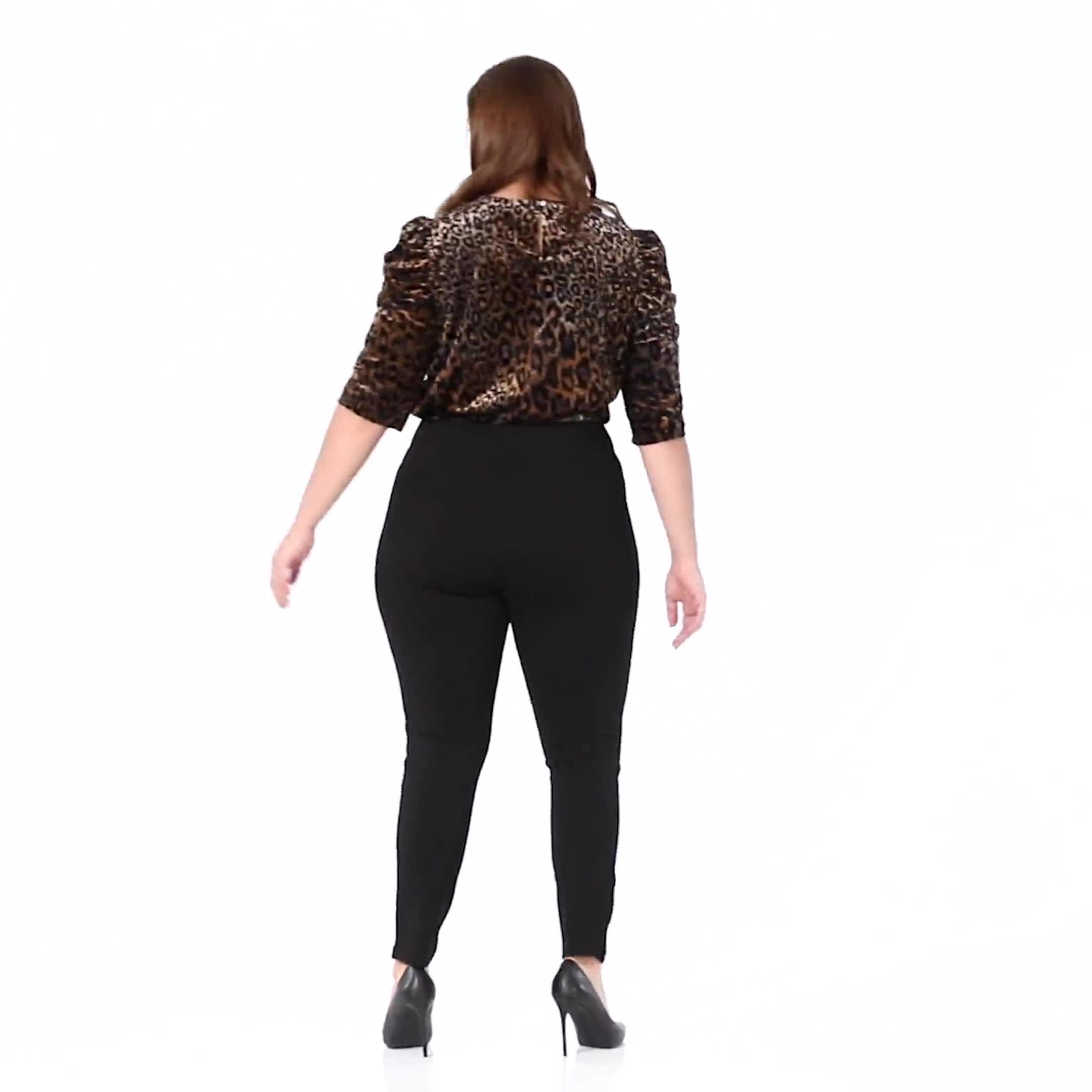 Ponte Pull on Legging with Faux Pockets and Rivet Trim  - Plus - Video