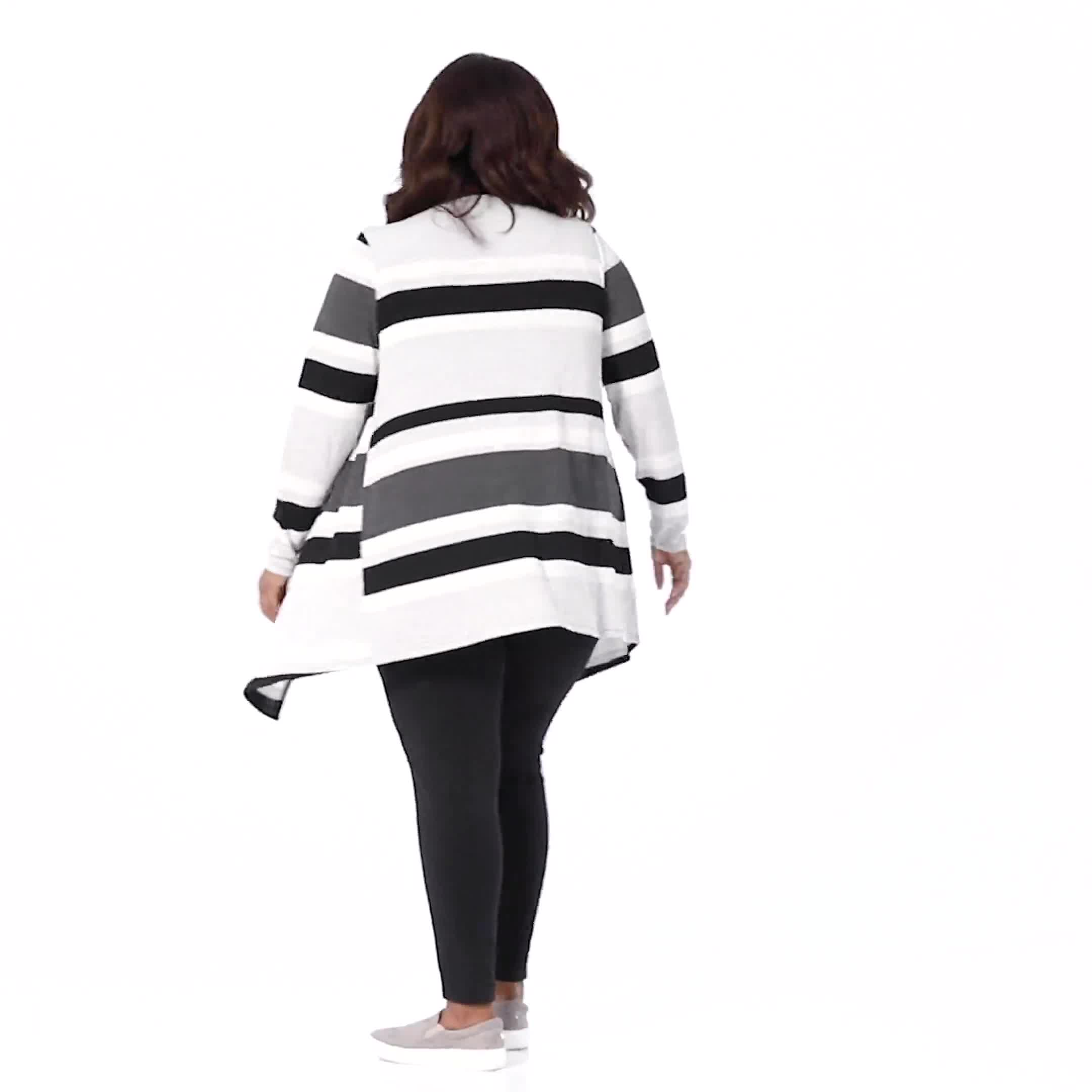 DB Sunday Hacci Sweater Knit Stripe Cardigan - Plus - Video
